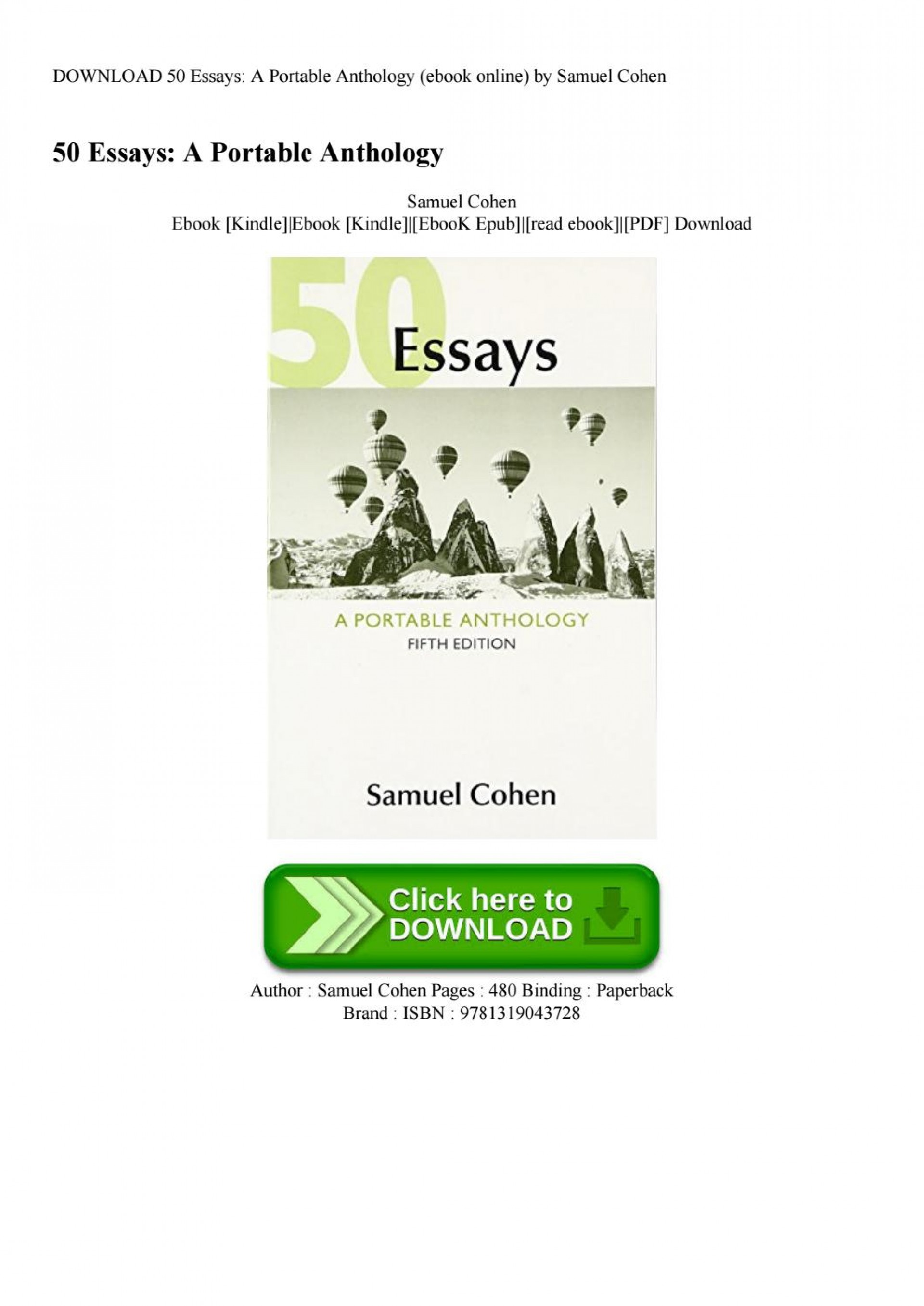 007 Essays 5th Edition Page 1 Essay Imposing 50 Fifty Great Pdf Free A Portable Anthology Ebook 1920