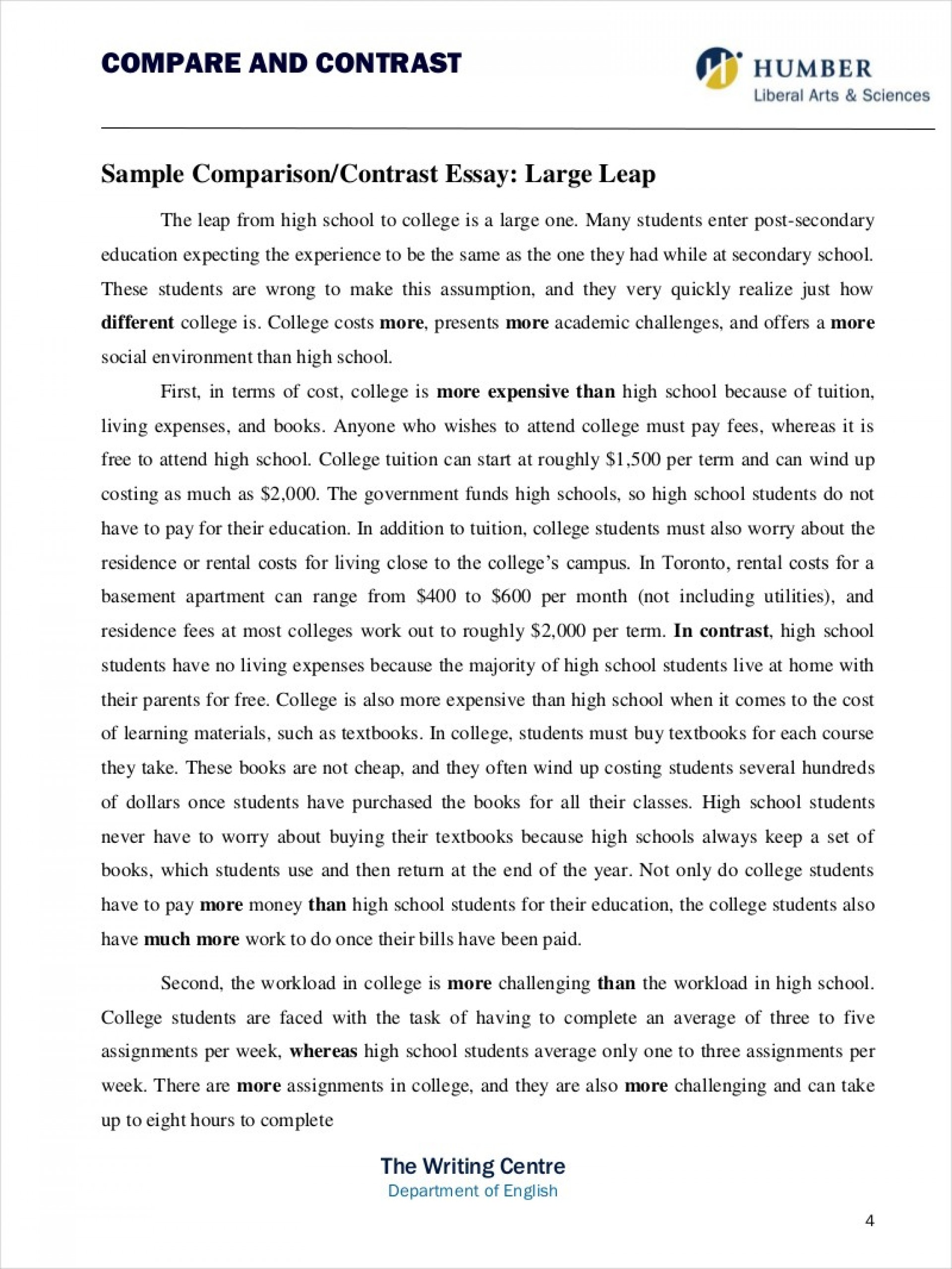 007 Example Of Compare And Contrast Essay Comparing Contrasting Comparative Samples Free Pdf Format Stunning In Apa Introduction Mla 1920