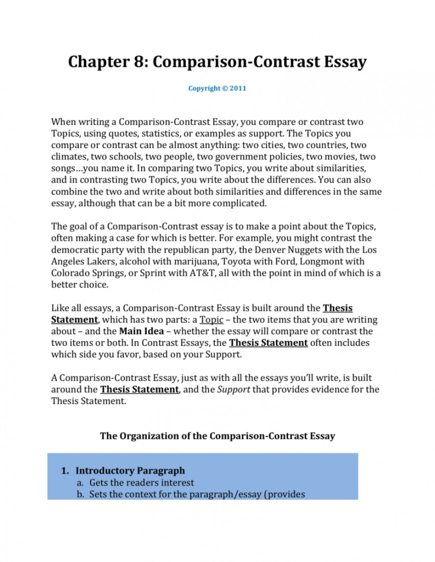 007 Examples Of Compare And Contrast Essays Essay Example 007207405 1 Unique Comparison Topics For High School Samples Thesis