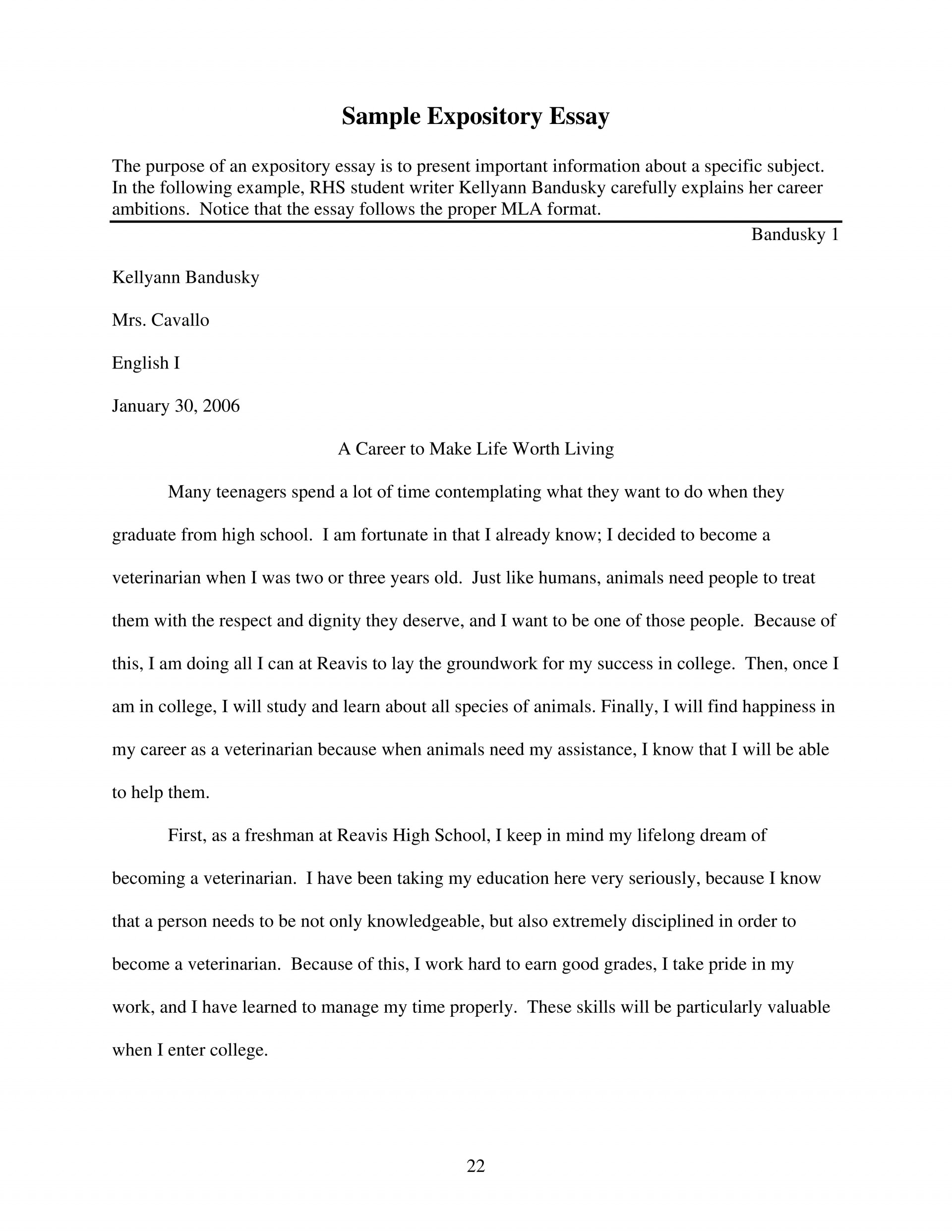 007 Expository Essay Sample Page 1 Essays Staggering Examples Topics 7th Grade Staar 5th 1920