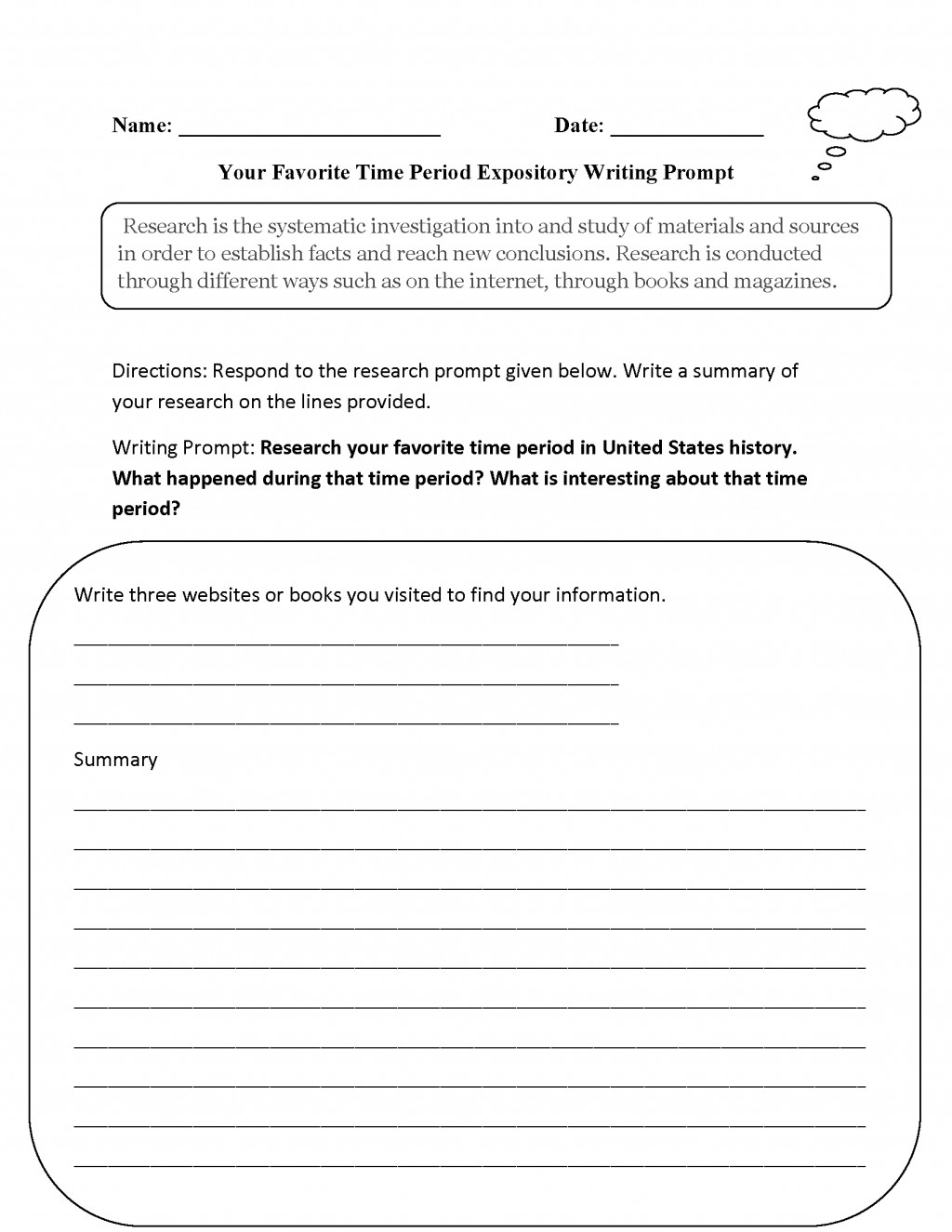 007 Favorite Time Period Expository Writing Prompt Prompts For Essays Essay Best College Persuasive Opinion 4th Grade Large