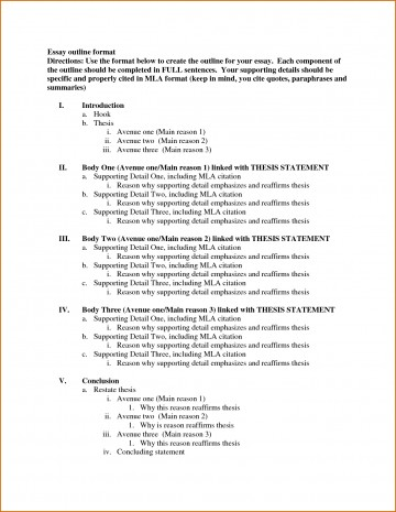 007 Formal Essay Outline Template Archaicawful Research Mla Format 360