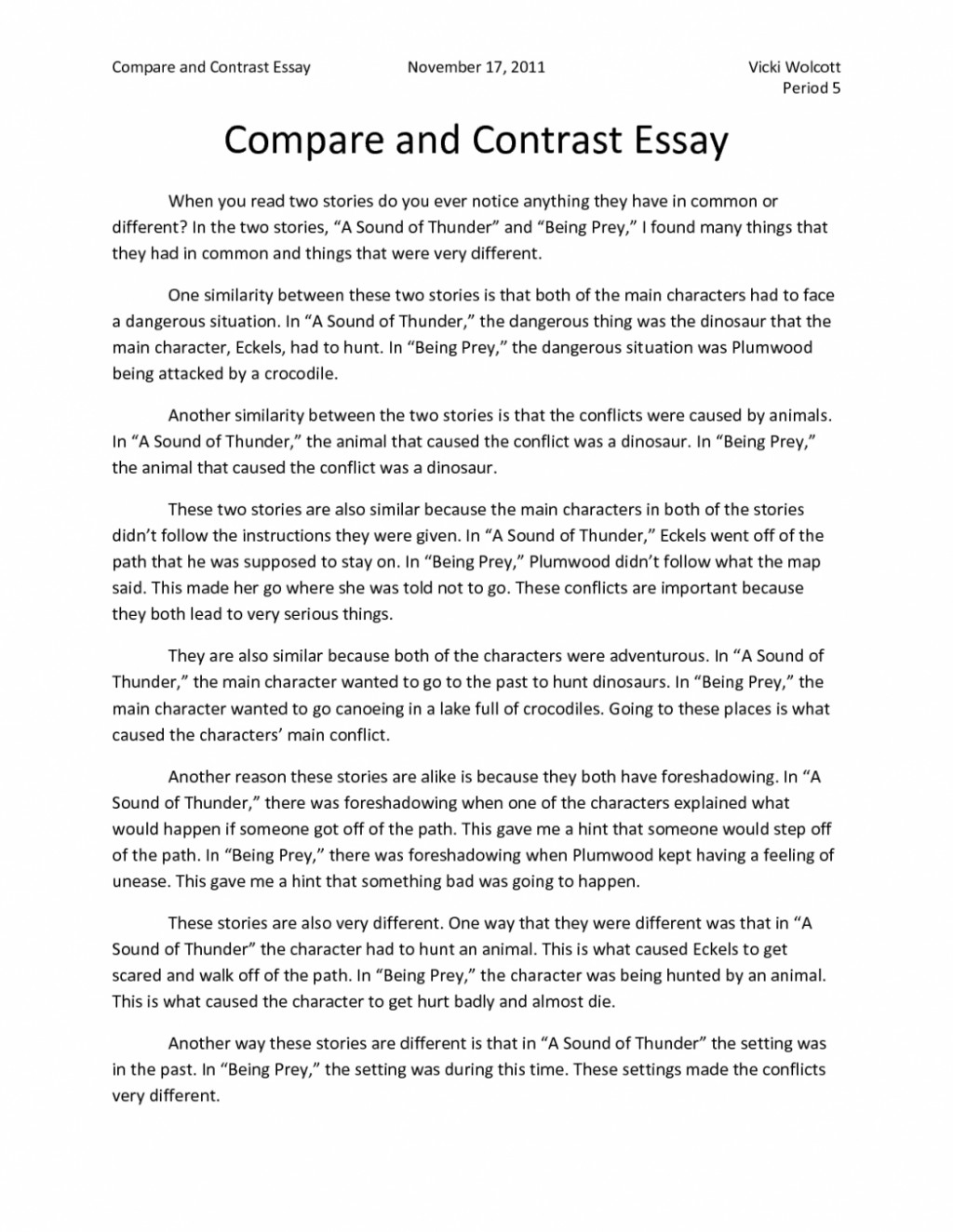 007 Free Compare And Contrast Essay Examples Example Essays Writing Comparison Of Middle School High Vs College 4th Singular Pdf Large