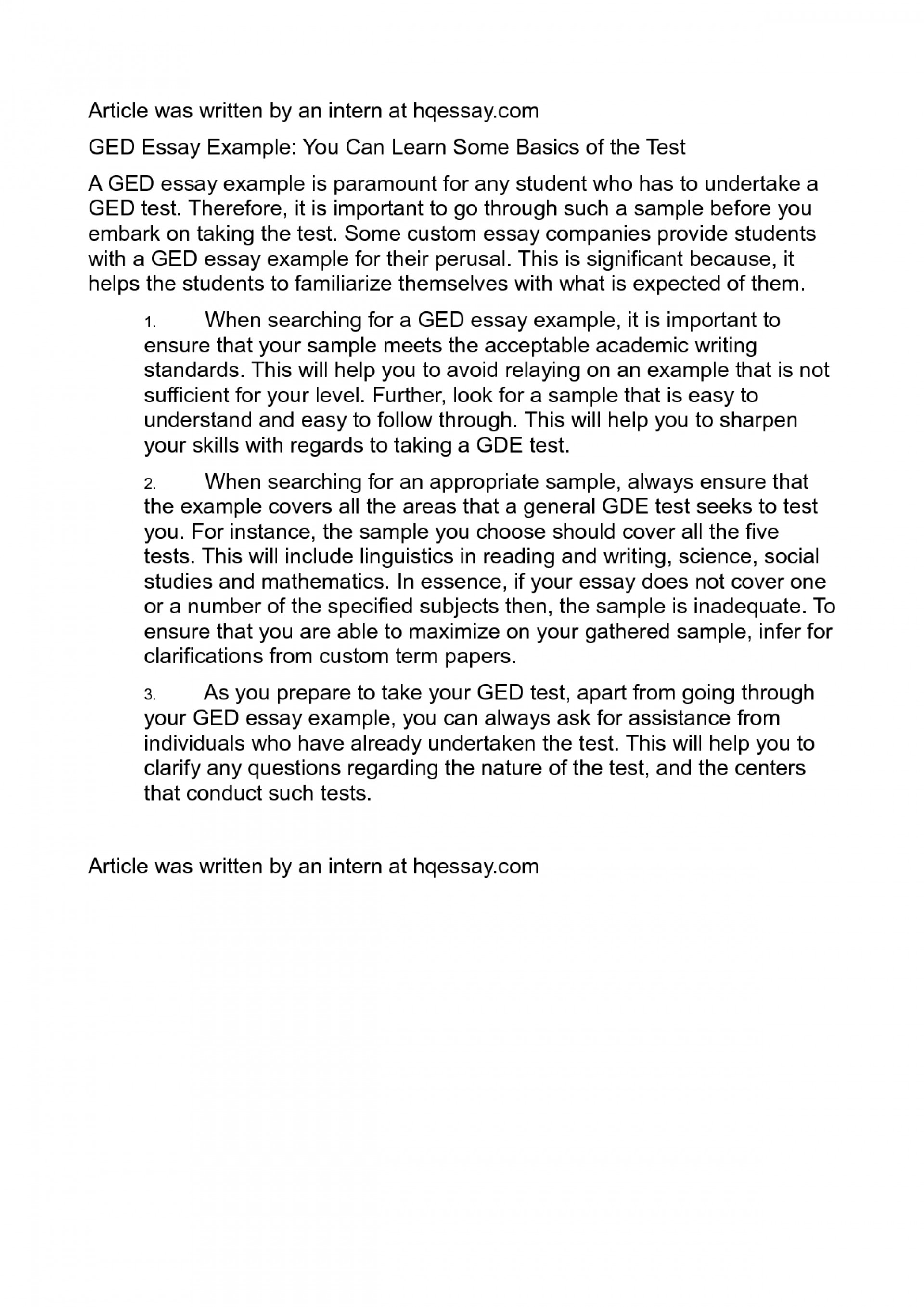 007 Ged Essay Examples Example Writing Excellent 2016 1920