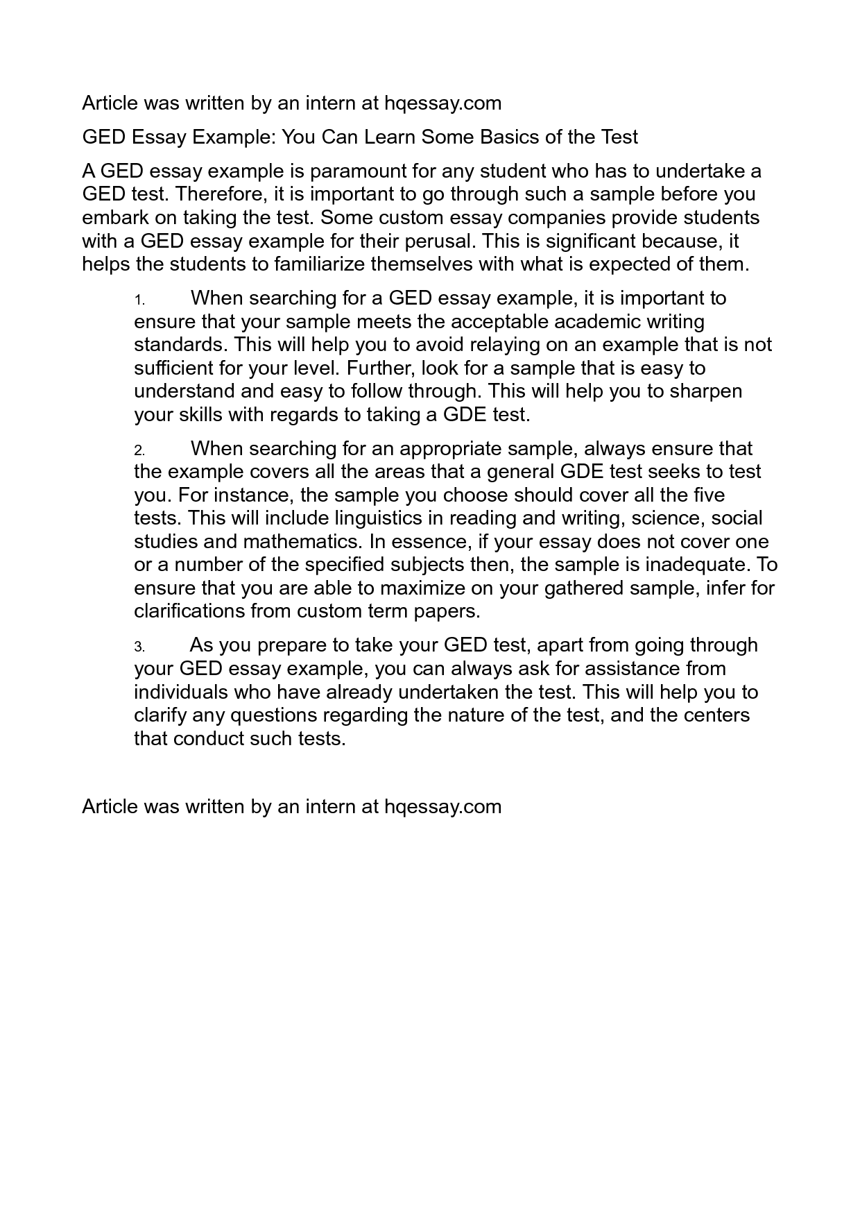 007 Ged Essay Examples Example Writing Excellent 2016 Full