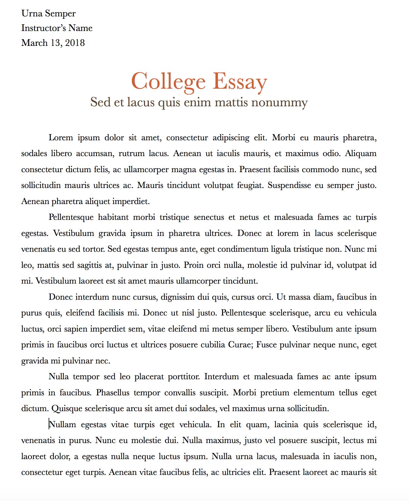 college application essay heading