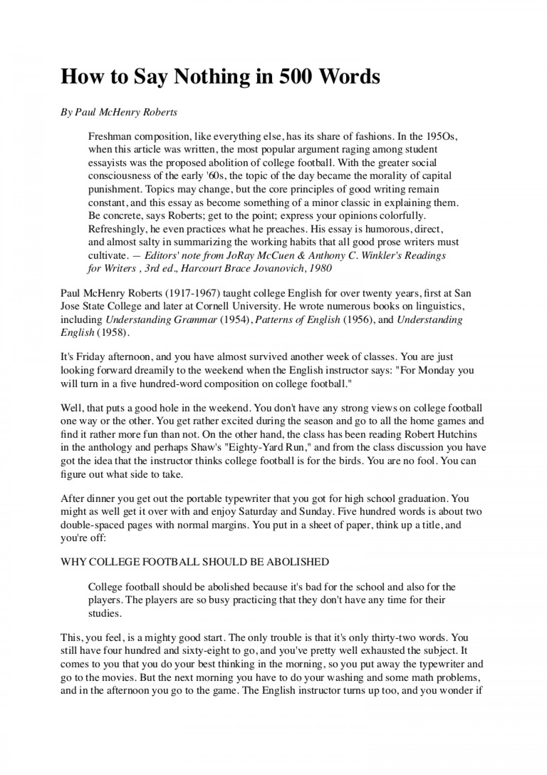 007 Howtosaynothingin500words Phpapp02 Thumbnail From Failure To Promise Essay Contest Unique 1920