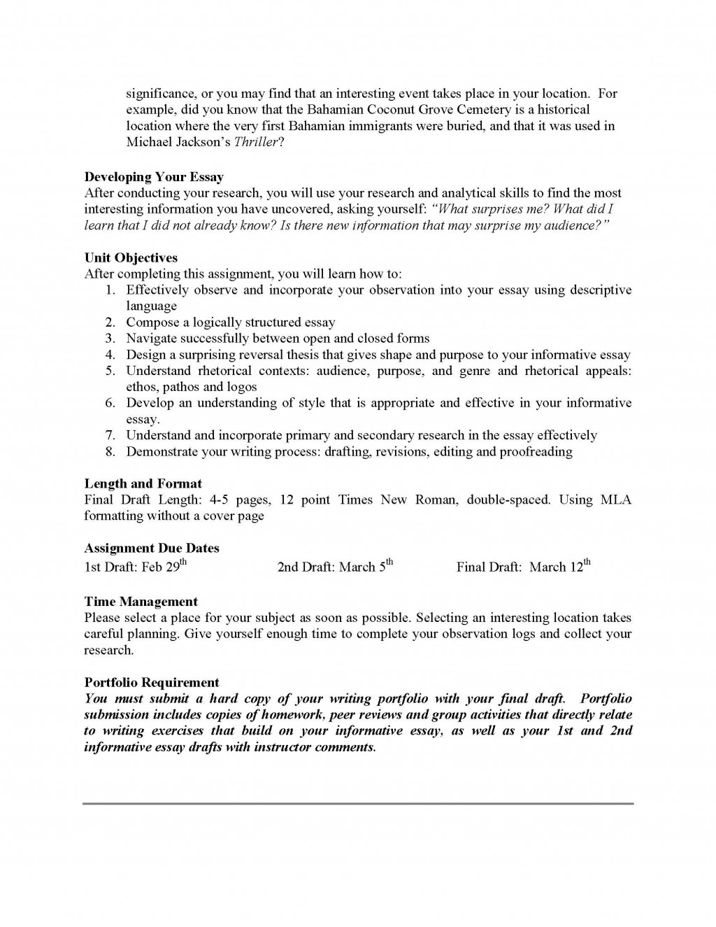 007 Informative Essay Unit Assignment Page 2 Sample Shocking Examples Middle School Outline Example Large