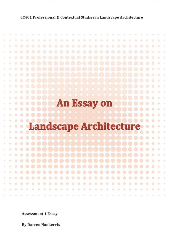 007 Landscape Architecture Essay Example Page 1 Stunning Argumentative Topics 868