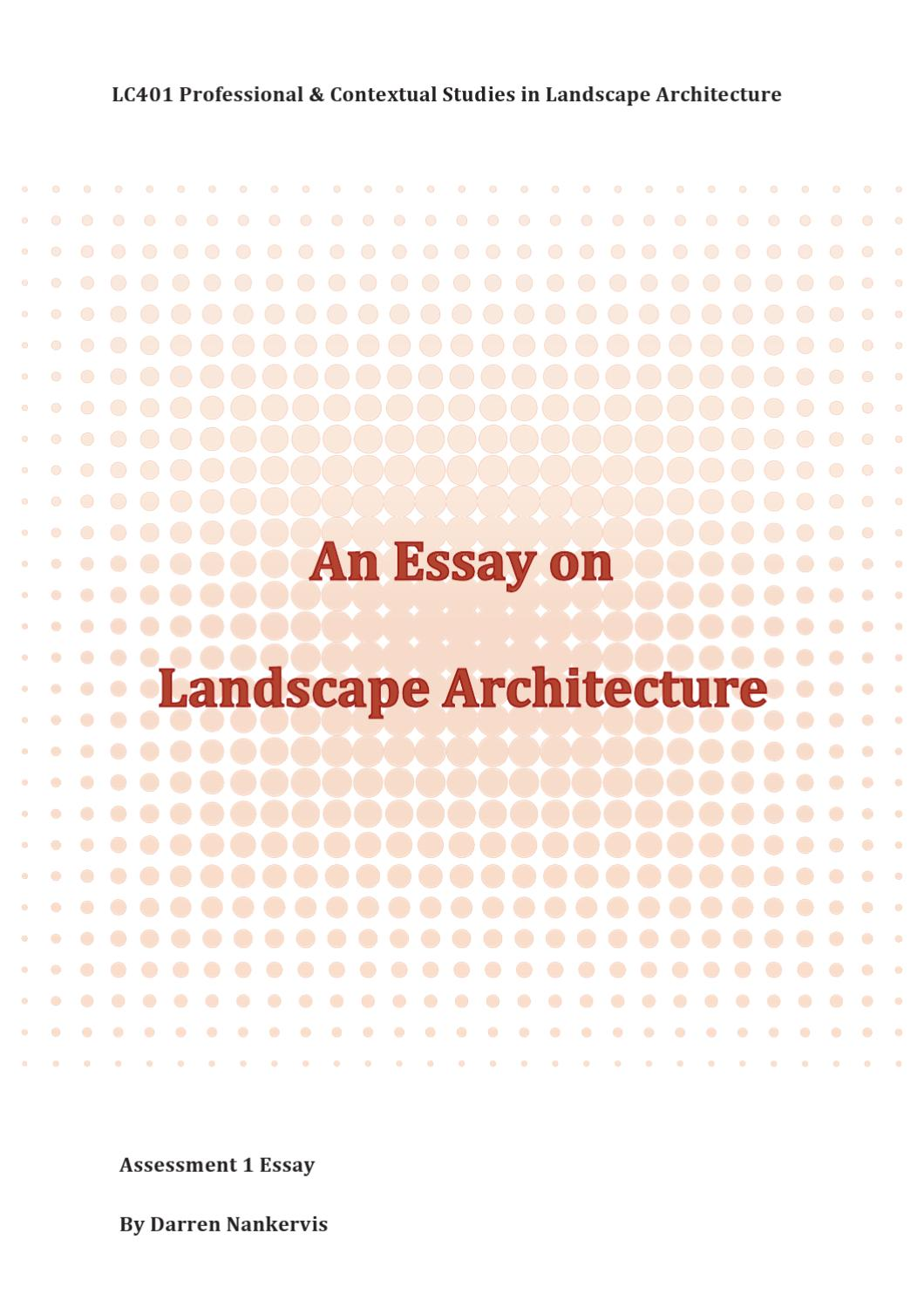 007 Landscape Architecture Essay Example Page 1 Stunning College Argumentative Full
