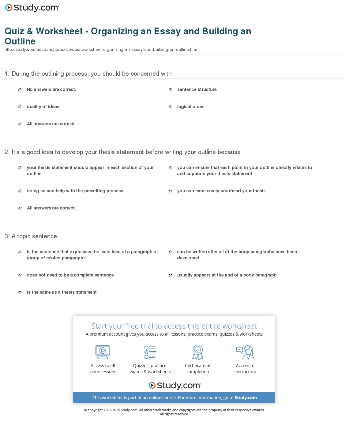 007 Organization Of Essay Example Quiz Worksheet Organizing An And Building Fascinating Expository Persuasive Methods For Argumentative Essays Full