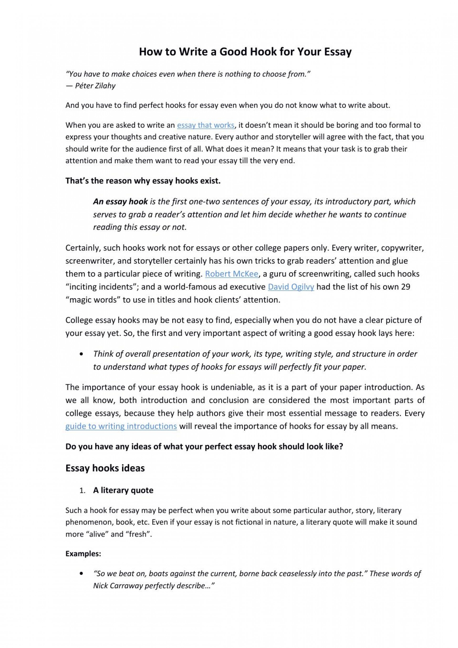 007 Page 1 Essay Example How To Make Good Hook For Outstanding A An Catchy Narrative Great 1920
