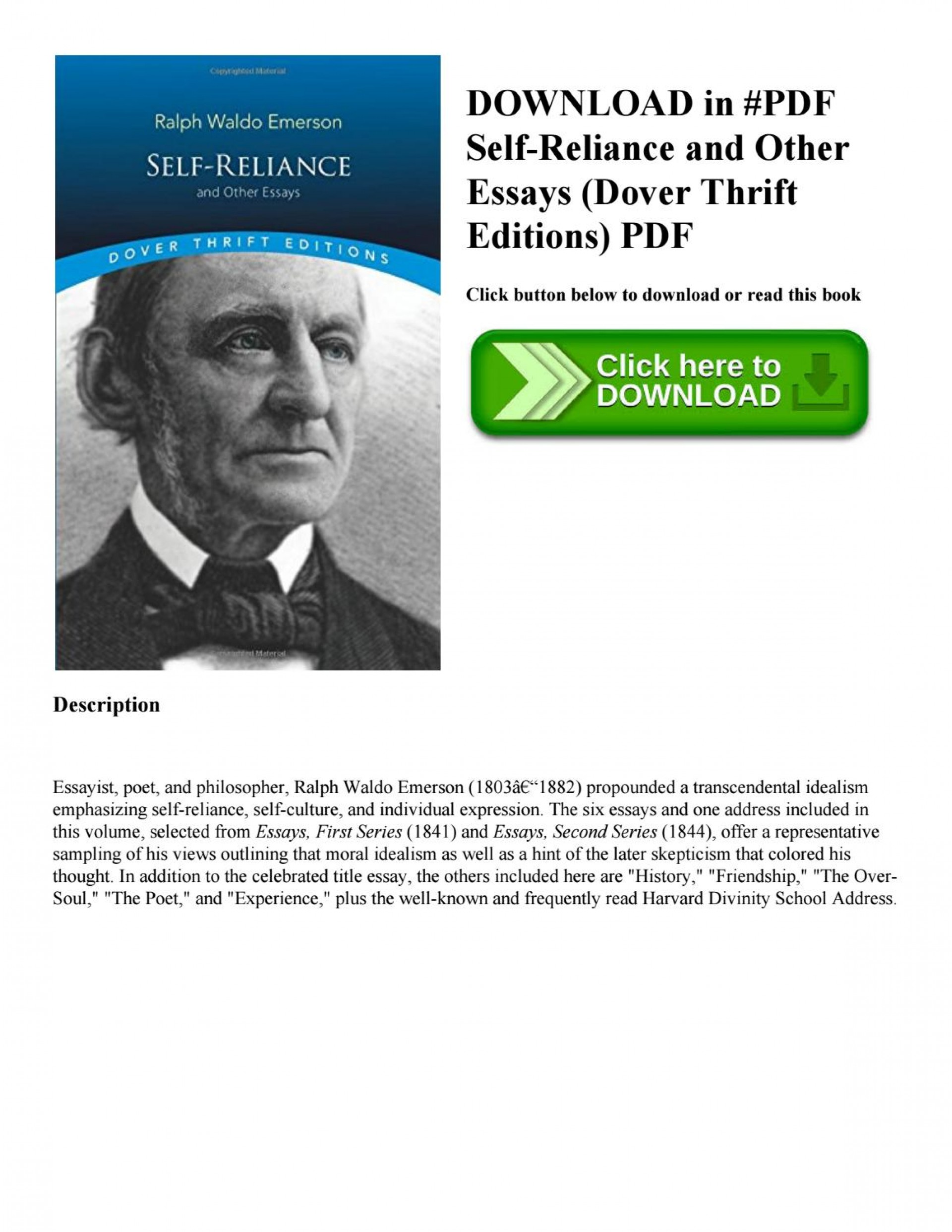 007 Page 1 Self Reliance And Other Essays Essay Formidable Ekşi Self-reliance (dover Thrift Editions) Pdf Epub 1920