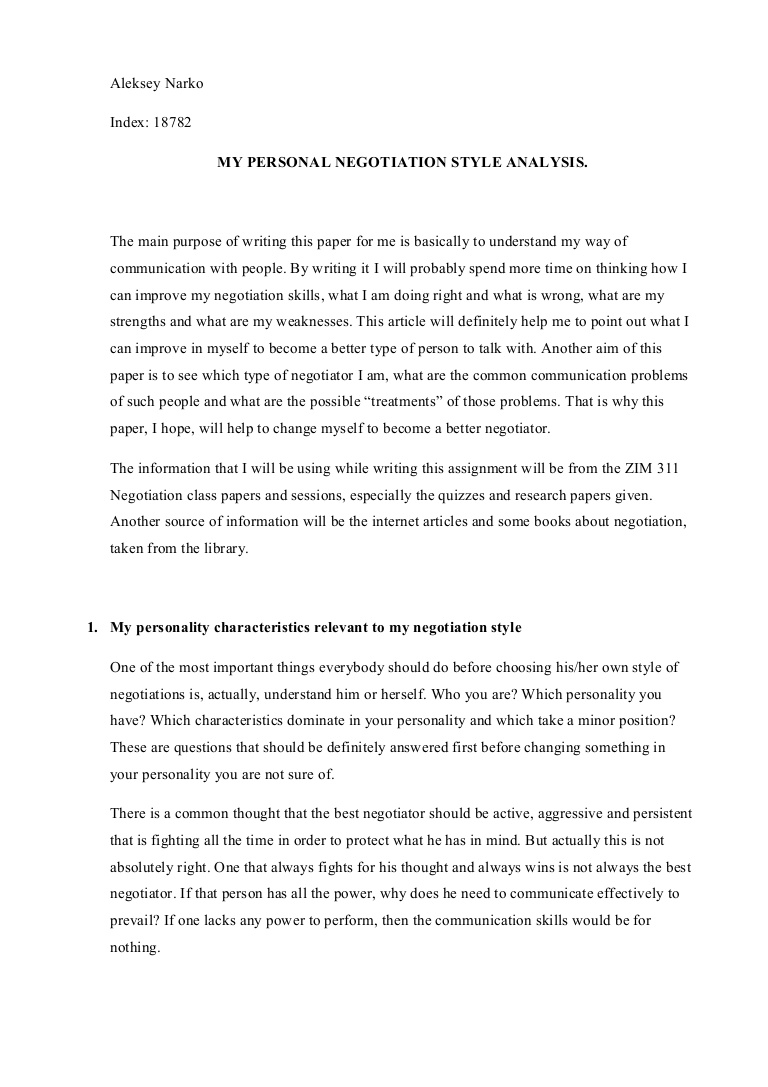 007 Personality Essay Example Negotiationsessay Phpapp01 Thumbnail Singular Questions My Conclusion Full