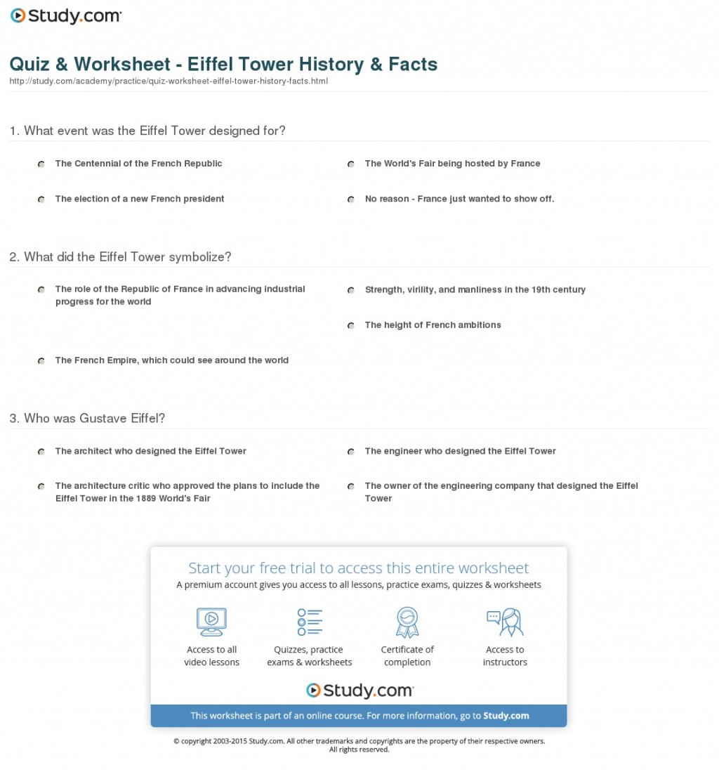 007 Quiz Worksheet Eiffel Tower History Facts Essay Example Exceptional Description Large