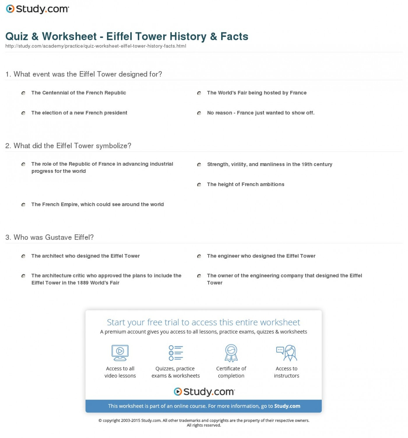 007 Quiz Worksheet Eiffel Tower History Facts Essay Example Exceptional Description 1400