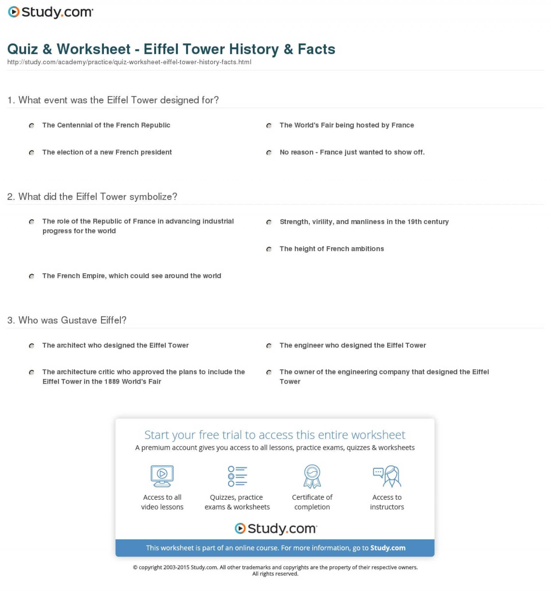 007 Quiz Worksheet Eiffel Tower History Facts Essay Example Exceptional Description 1920