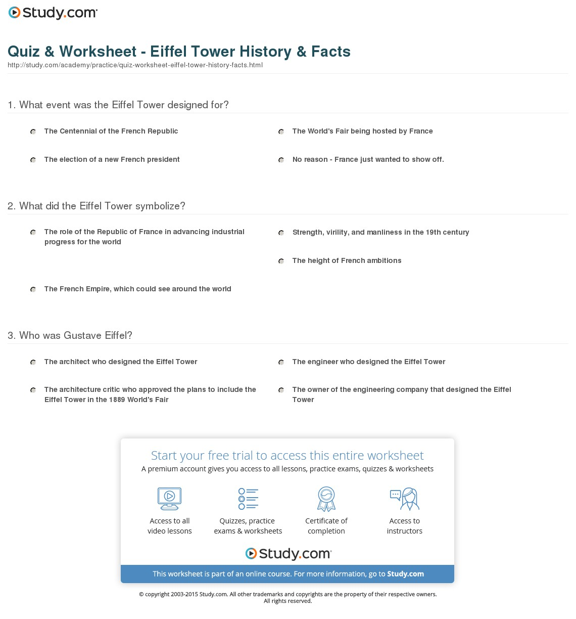 007 Quiz Worksheet Eiffel Tower History Facts Essay Example Exceptional Description Full