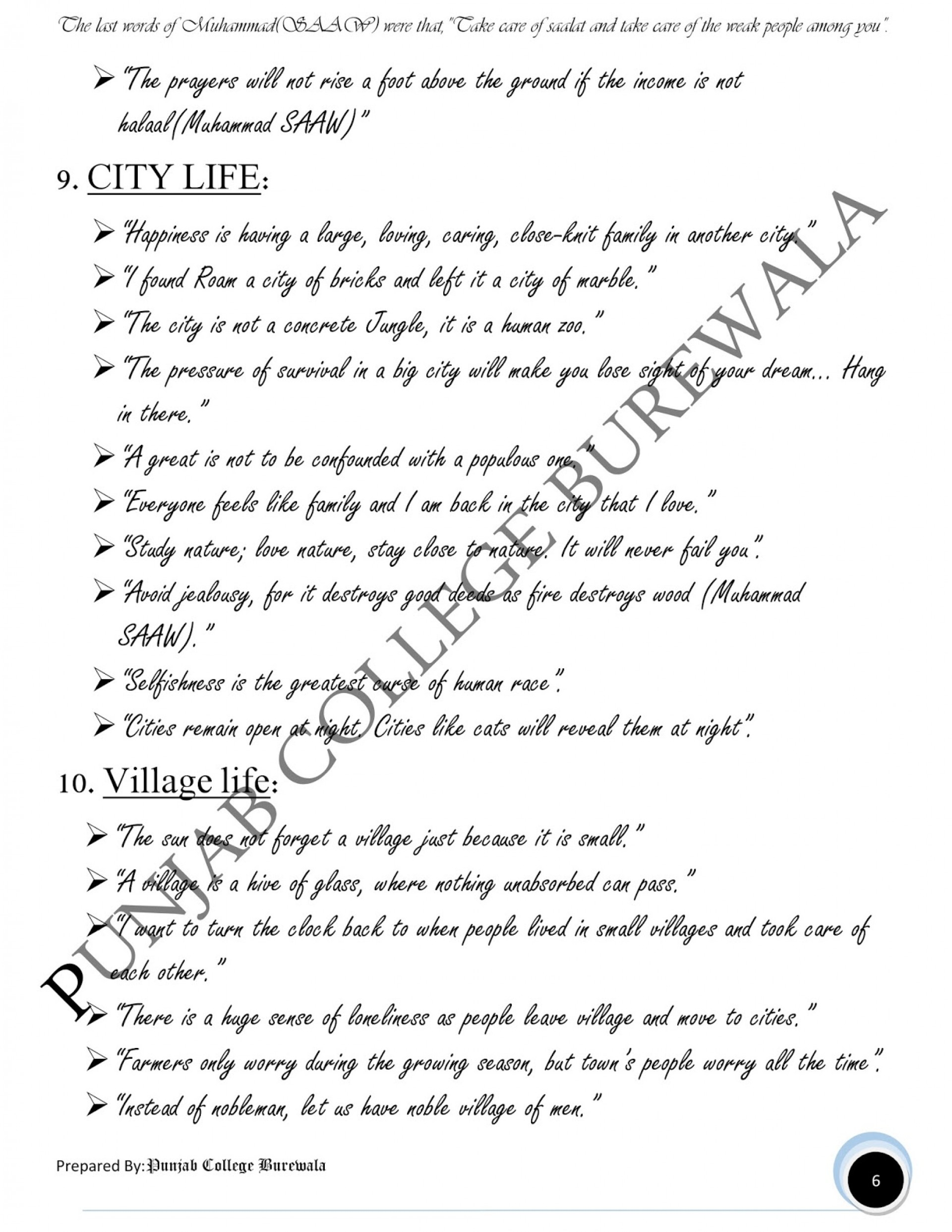Fearsome Essay On Village Life With Quotations For 5nd Year