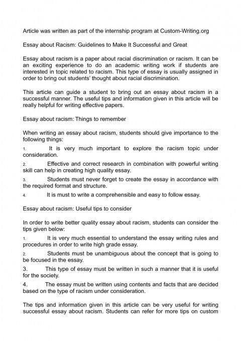 007 Racism Essay P1 Marvelous Racial Issues Topics Hook 480