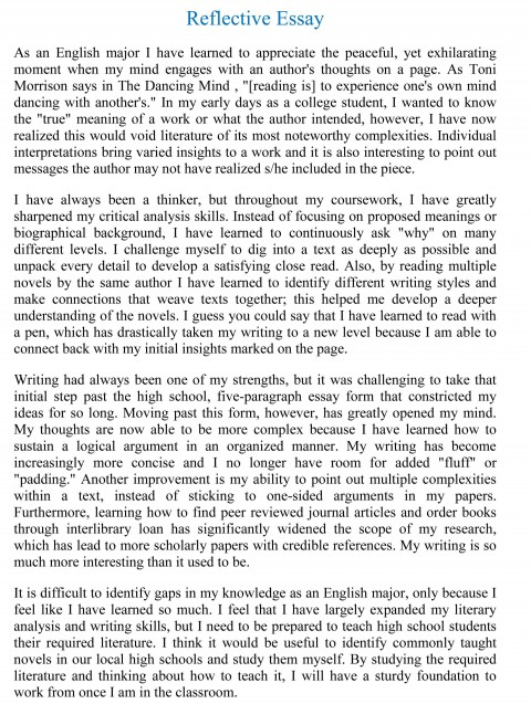 007 Reflective Essay Examples Example Beautiful Sample Pdf About Writing English 101 480