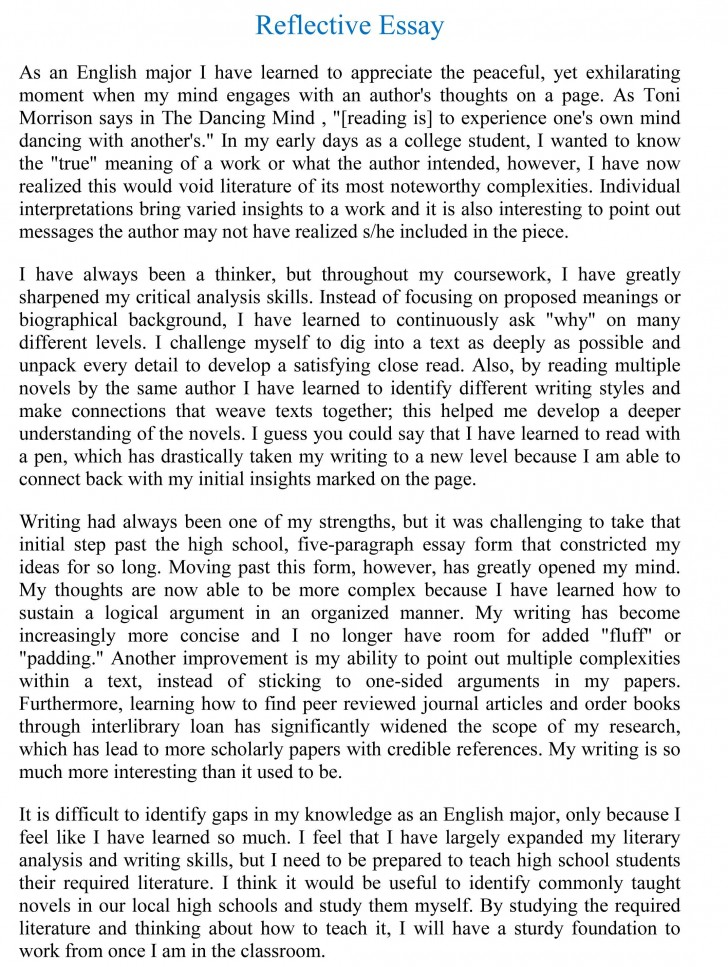 007 Reflective Essay Examples Example Beautiful Sample Pdf About Writing English 101 728