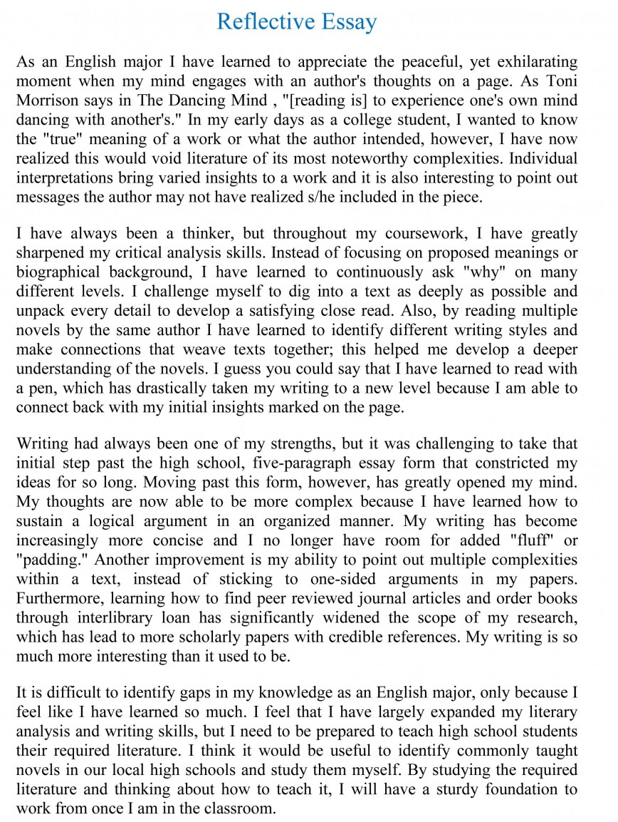 007 Reflective Essay Examples Example Beautiful Sample Pdf About Writing English 101 868