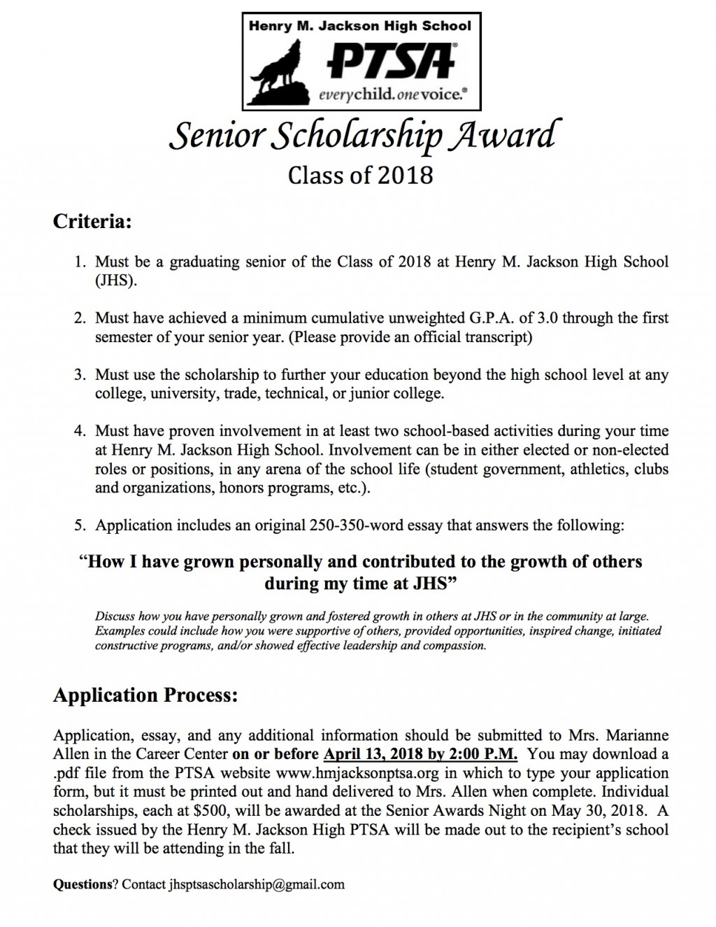 007 Senior Scholarships Henry M Jackson Ptsa No Essay For College Students Scholarship Application 201 With Unbelievable Without Essays Required 2017 Large