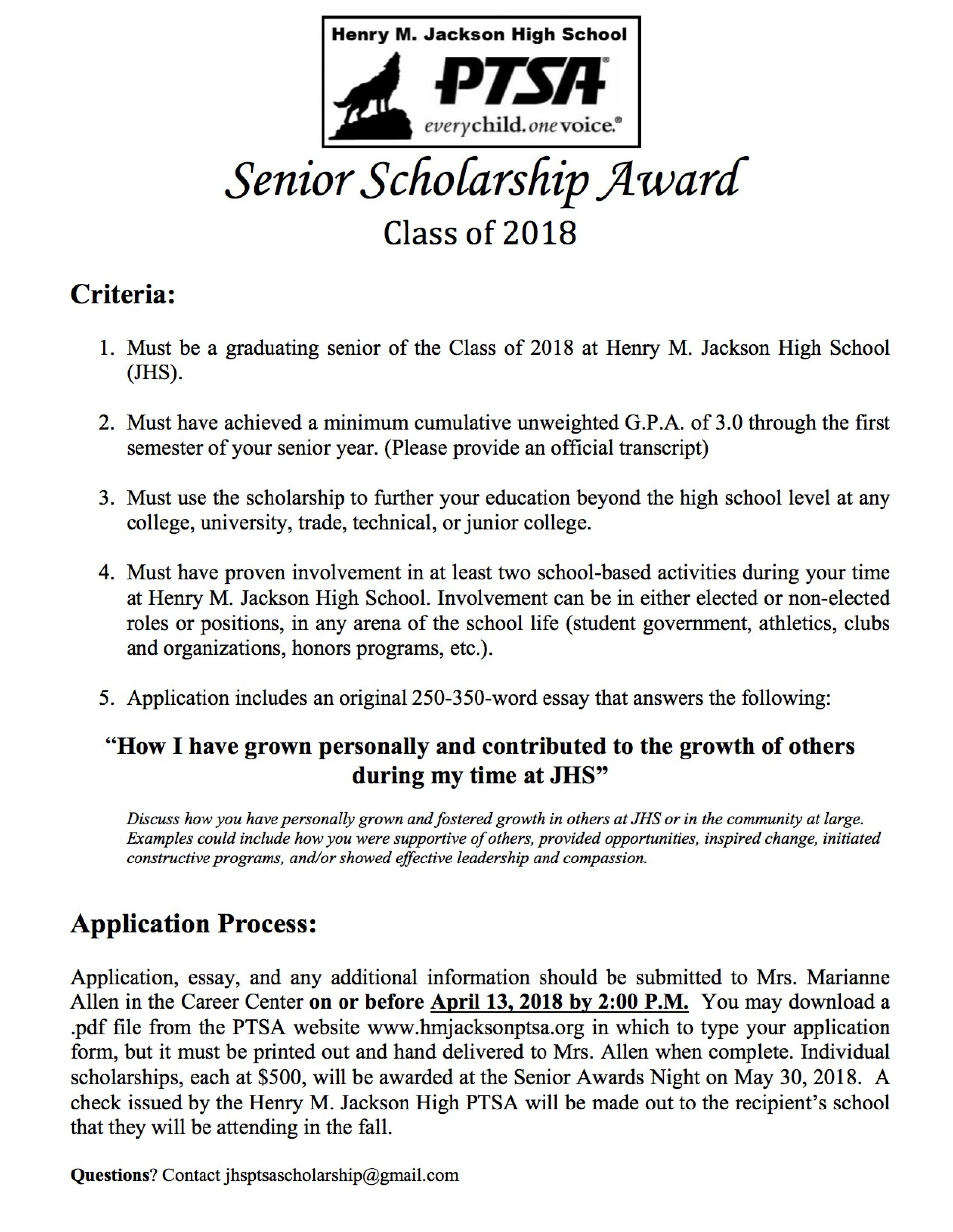007 Senior Scholarships Henry M Jackson Ptsa No Essay For College Students Scholarship Application 201 With Unbelievable Without Essays Required 2017 1920
