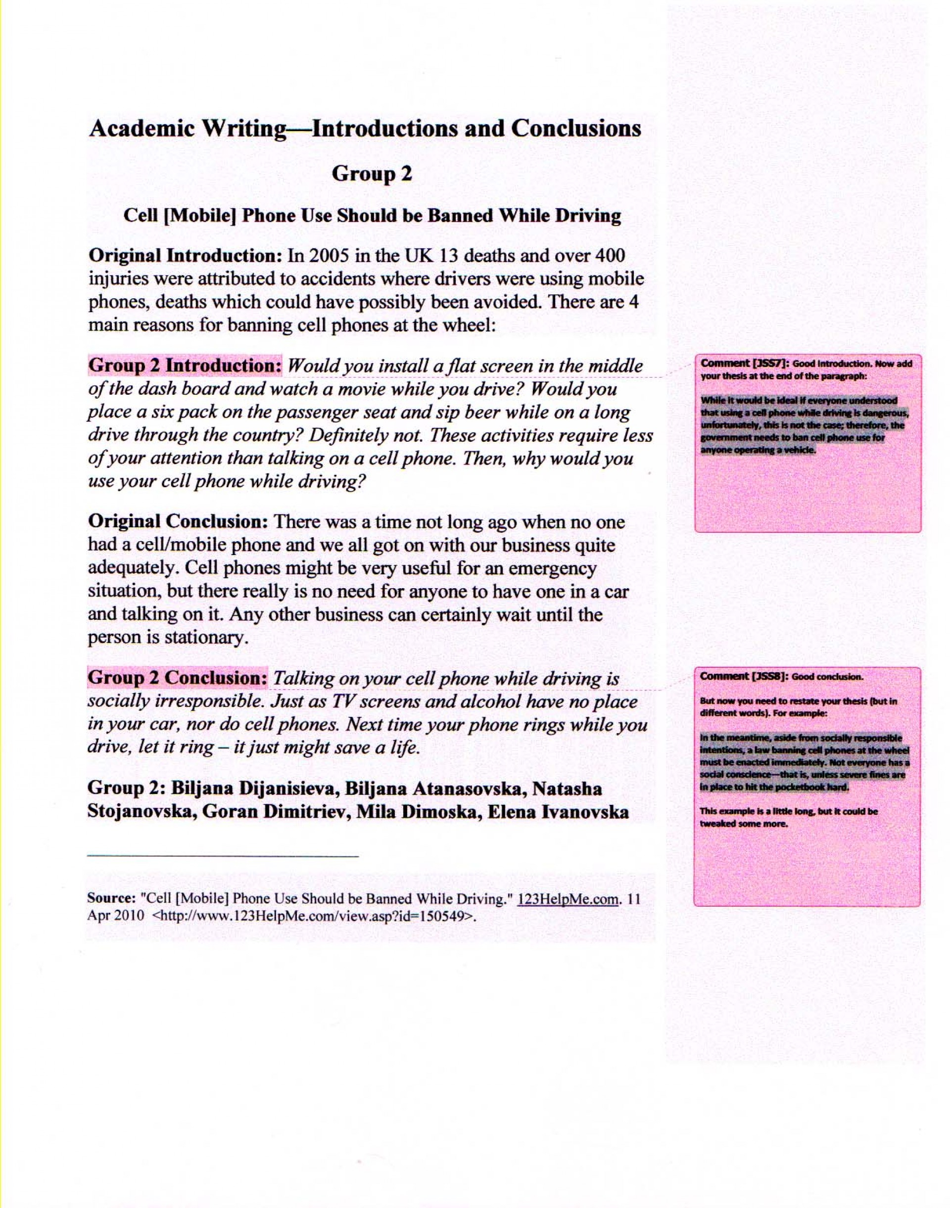 007 Texting While Driving Essay Example Academicwriting Blogintrosconclusions Wonderful And Outline Pdf 1920