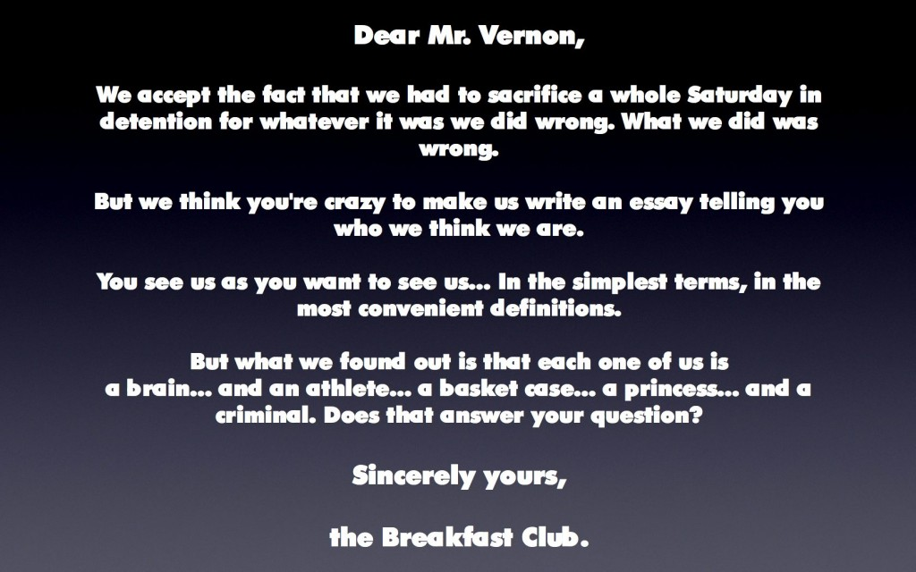 007 The Breakfast Club Essay Example From Jacksonbig On Movie Brians Final Questions Breathtaking Scene Introduction Analysis Large