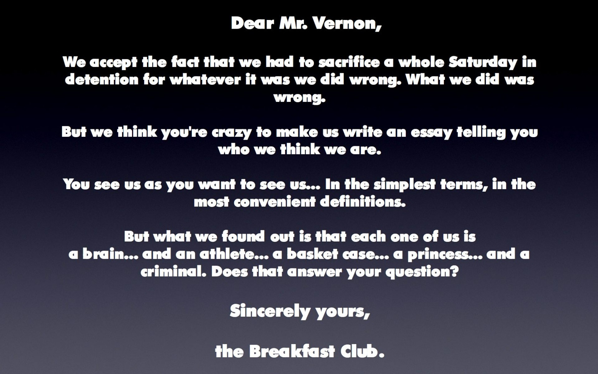 007 The Breakfast Club Essay Example From Jacksonbig On Movie Brians Final Questions Breathtaking Scene Introduction Analysis 1920