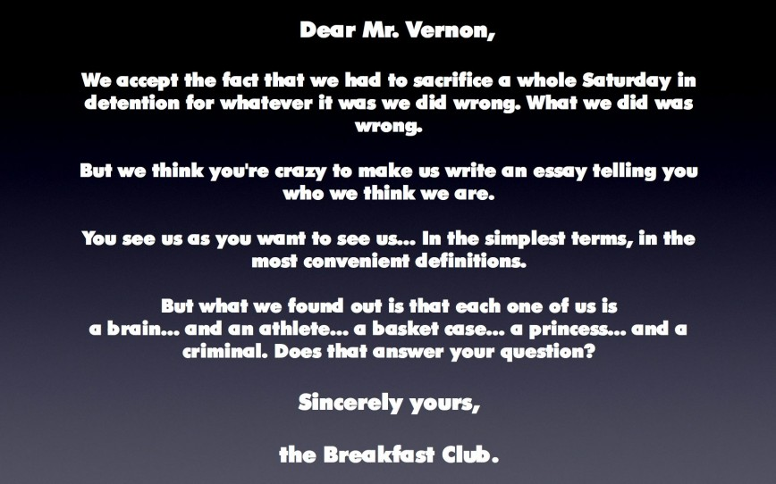 007 The Breakfast Club Essay Example From Jacksonbig On Movie Brians Final Questions Breathtaking Analysis Quote
