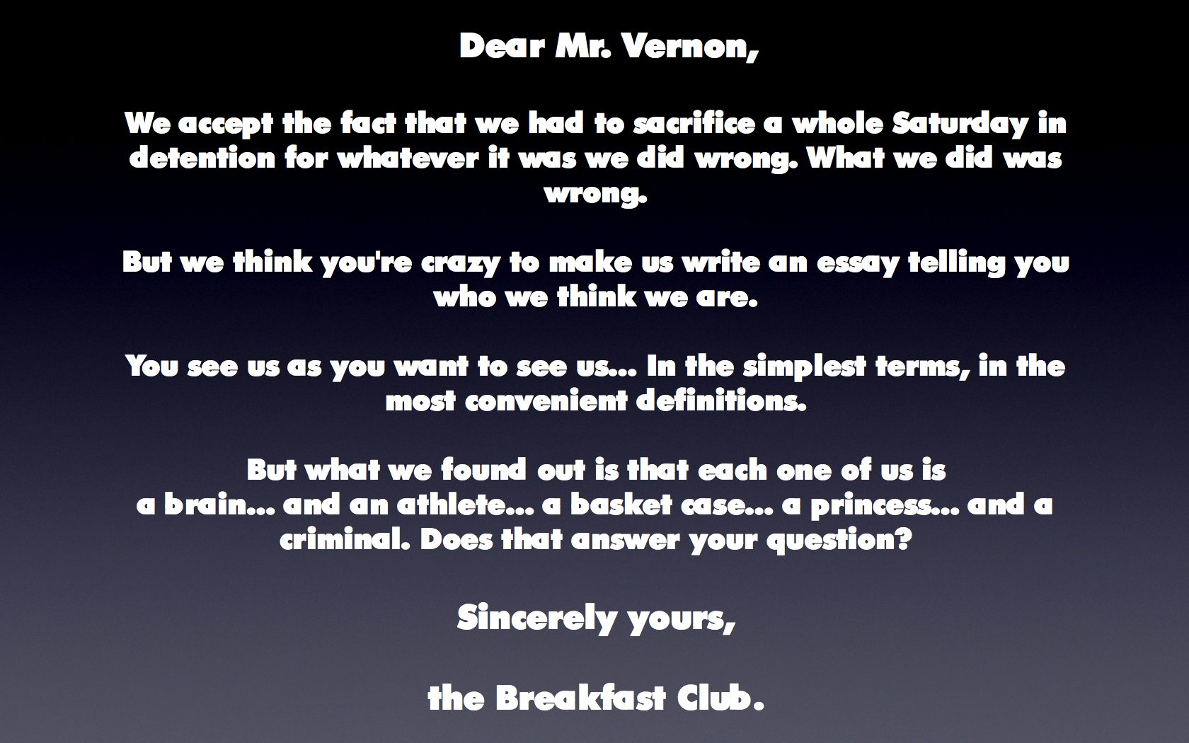 007 The Breakfast Club Essay Example From Jacksonbig On Movie Brians Final Questions Breathtaking Scene Introduction Analysis Full