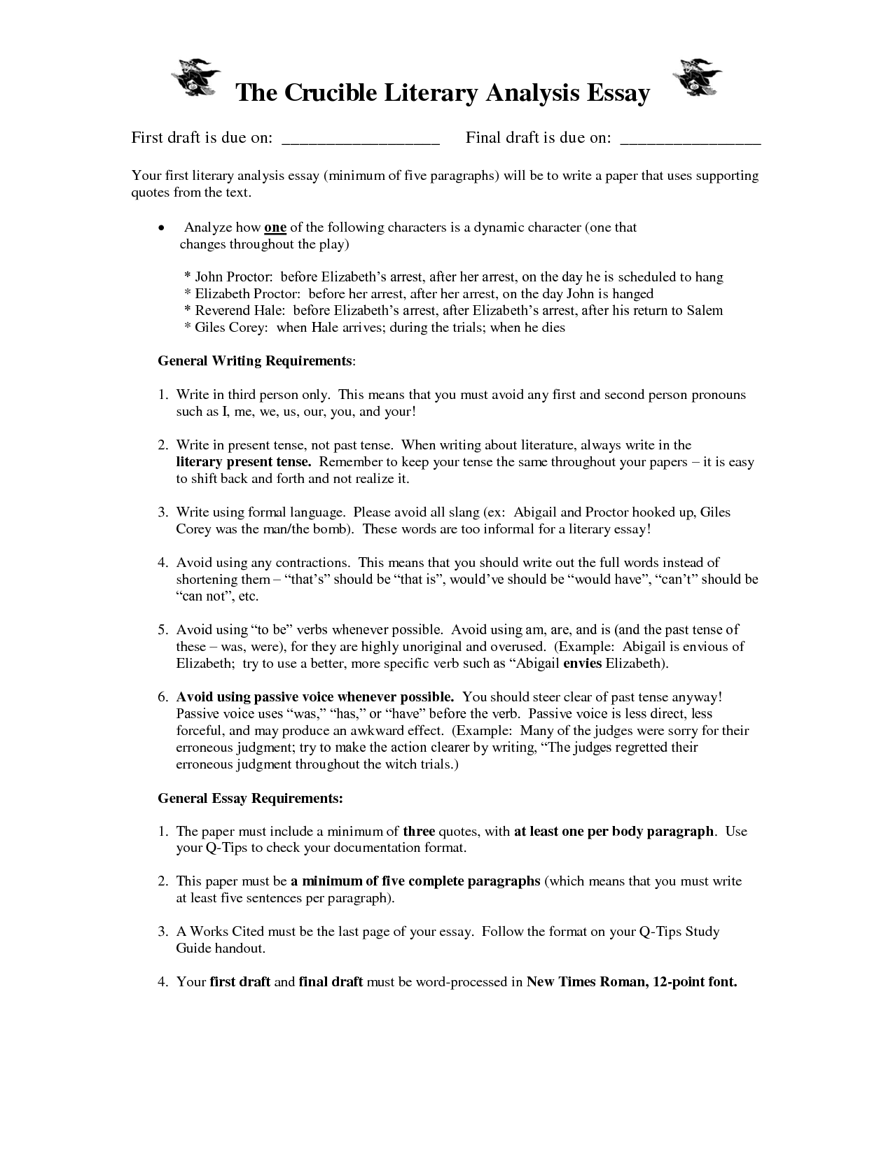 007 The Crucible Essay Topics Example Shocking Topic Sentences Analytical Writing Prompts Full