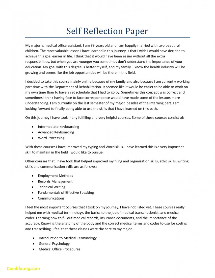 007 What Is Reflective Essay Example Format Unique Informal Examples Apa For Reflection Remarkable A Self Personal