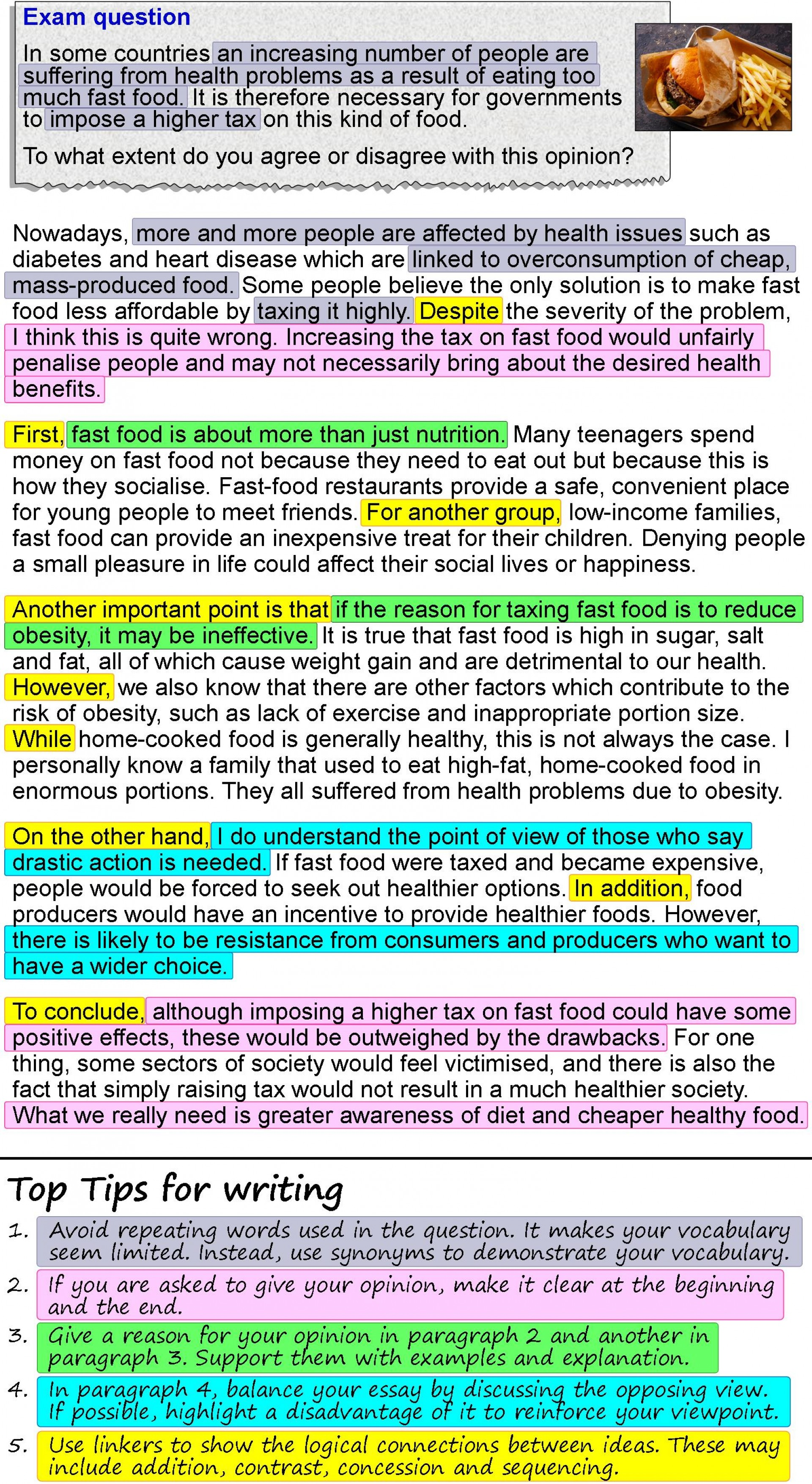 008 An Opinion Essay About Fast Food 4 Example Healthy Impressive Eating In French Pt3 Spm 1920