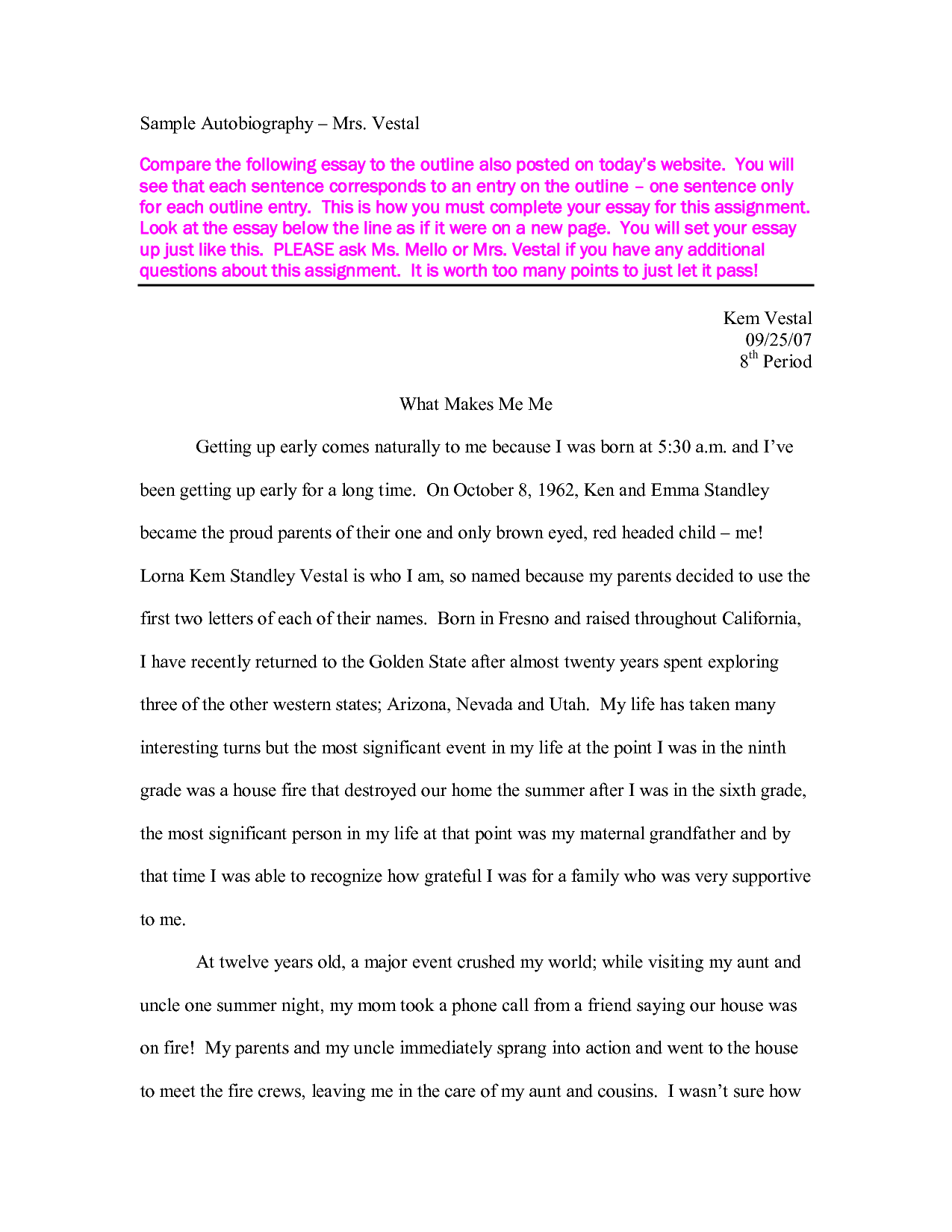 008 Autobiography Essay Example How To Write Unique For Highschool Students Pdf Bibliography Examples Full