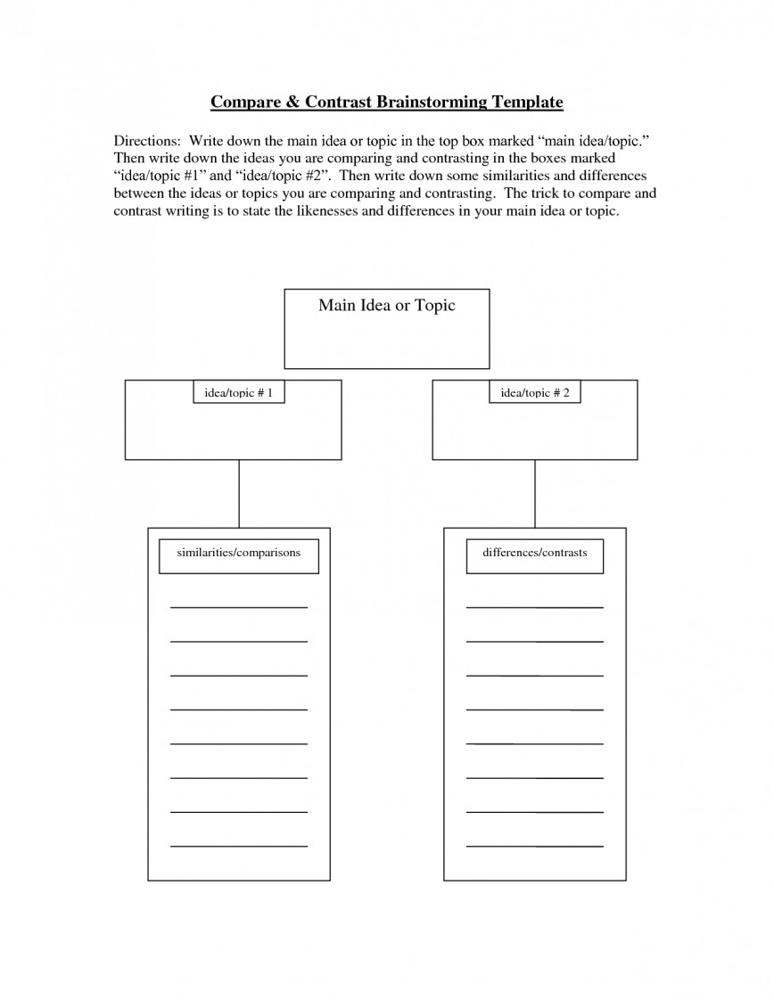 008 Brainstorming Essay Example Compare And Contrast Exceptional Template High School Vs College Doc