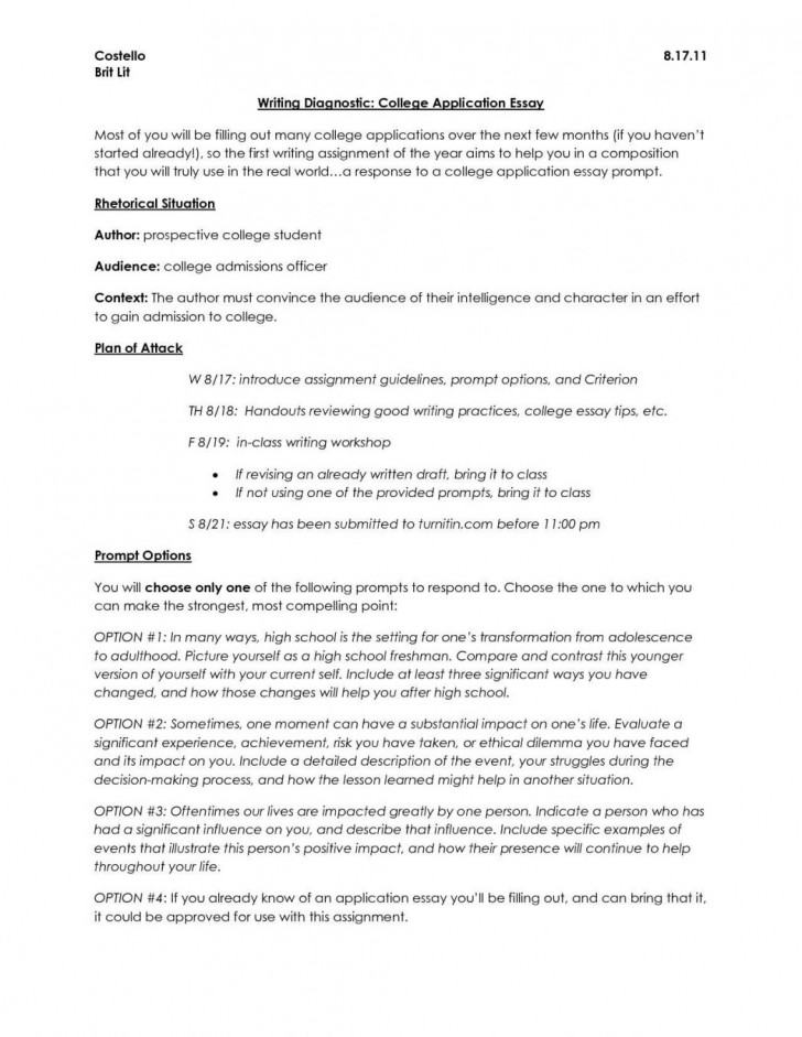 008 College Application Essay Topics Example Samples Of Essays For