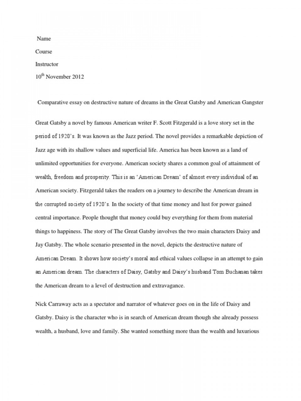 008 Comparative Essay On Destructive Nature Ofs  5884869ab6d87f259b8b49e2 Example American Unique Dream Topics Conclusion Great Gatsby Outline960