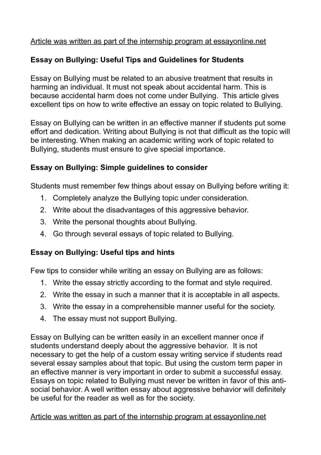 008 Essay About Bullying P1 Best Introduction In School Argumentative Brainly Large