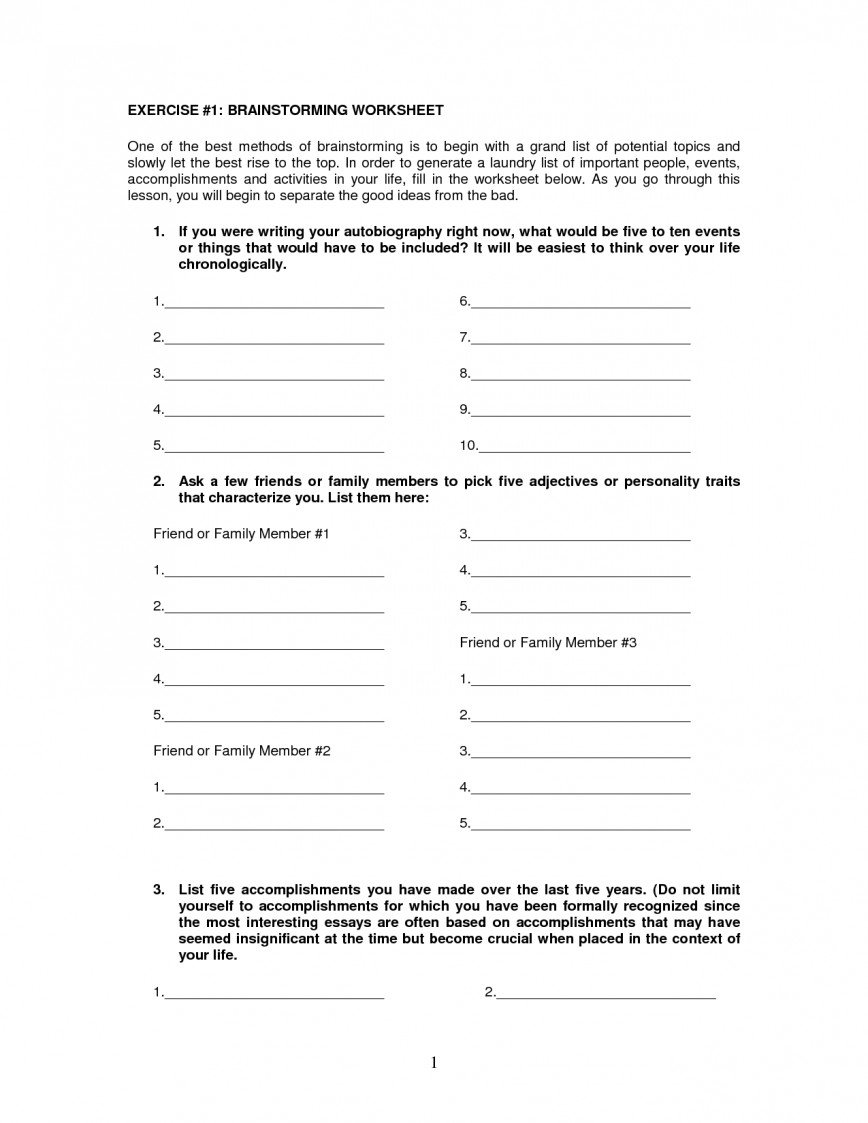 008 Essay Brainstorming Worksheet 583086 Outstanding Writing Techniques Topics College 868