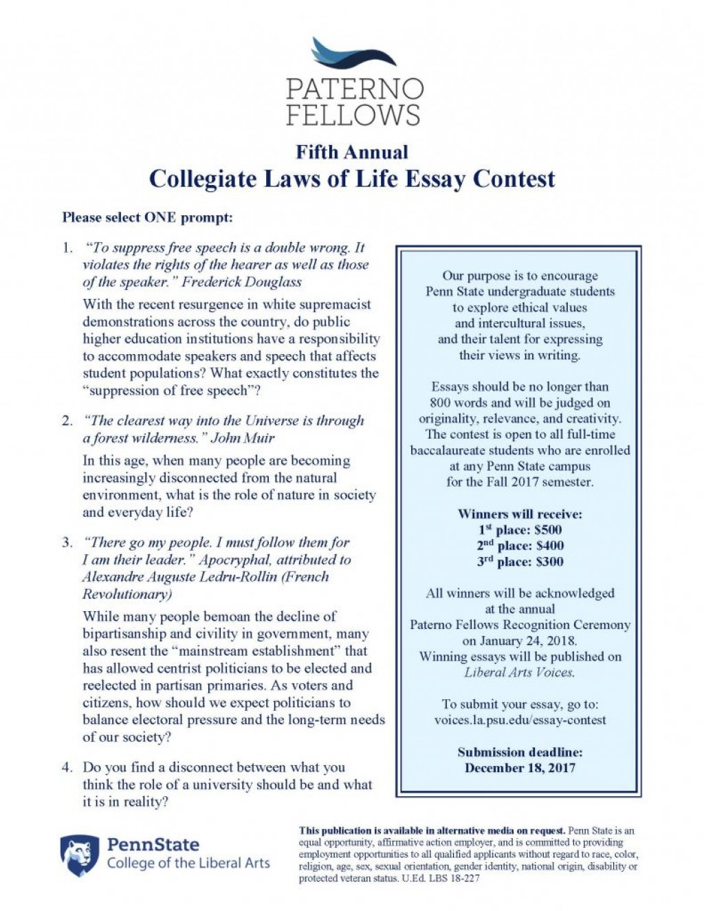 008 Essay Contest Liberal Arts Blog Penn State College Prompt Clol Flyer 2i93tbr Schreyer Honors Length Essayss Unforgettable Examples Large