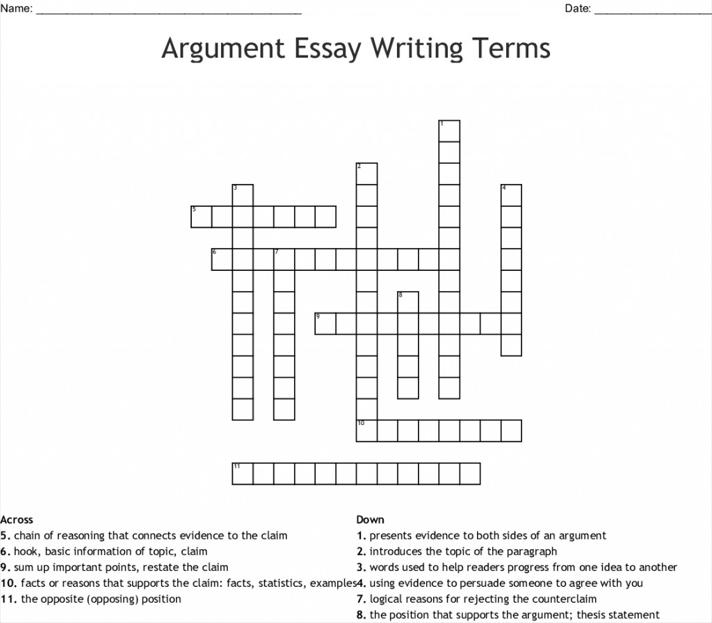 008 Essay Example Argument Writing Terms 255652 Fascinating Crossword Byline Clue Short Puzzle Persuasive Large