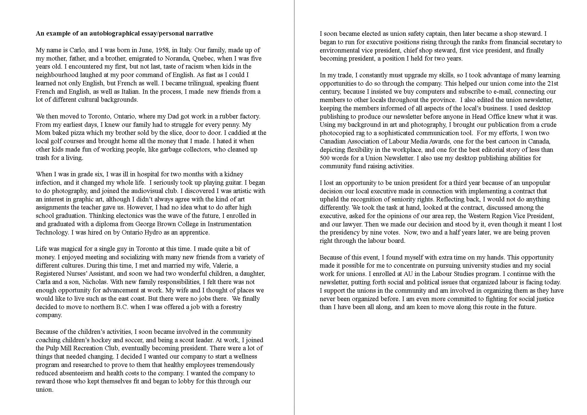 008 Essay Example Autobiographical Sample Unforgettable Biography About Myself Elementary Self Full