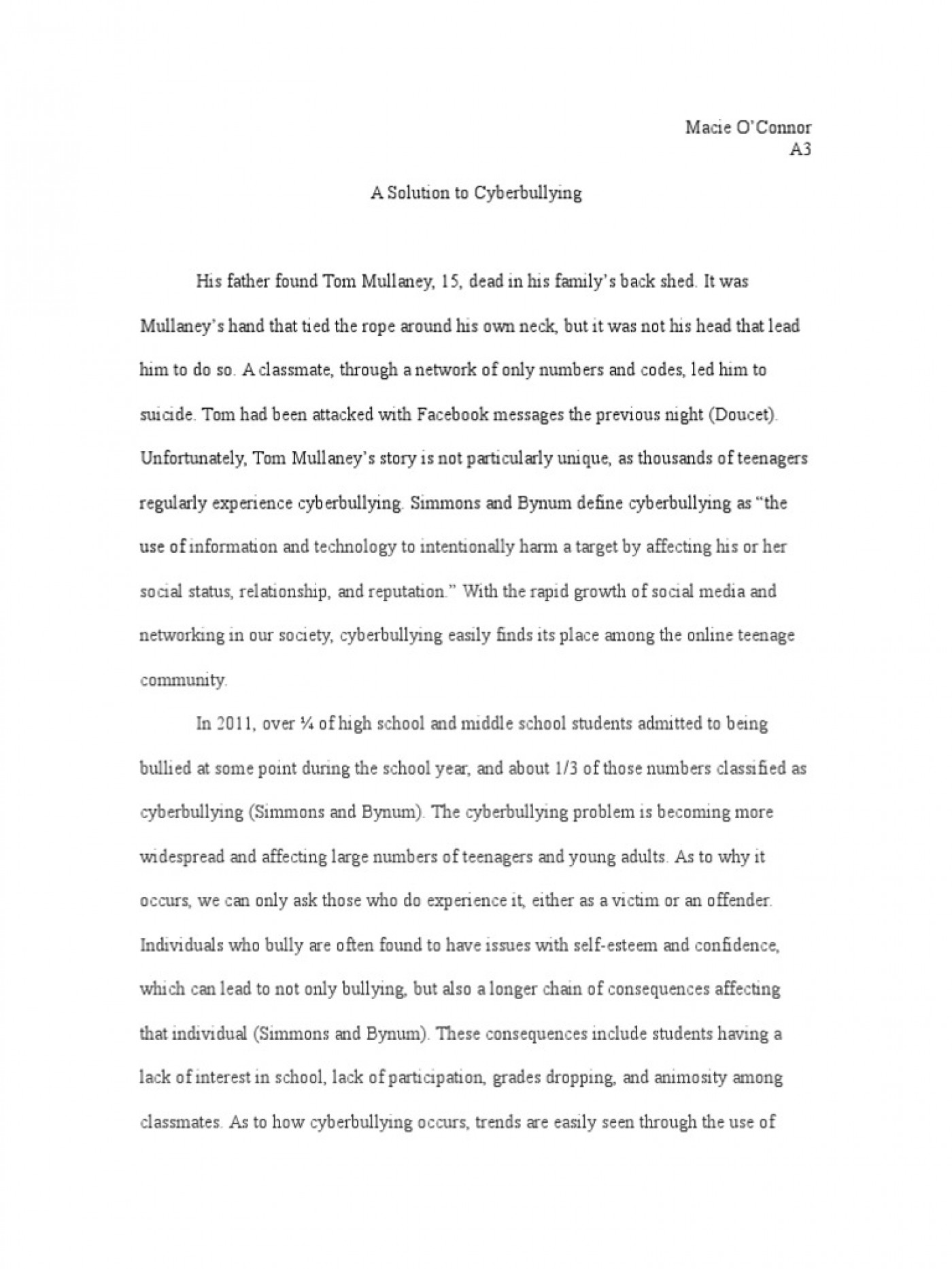 008 Essay Example Bullying Problem Solution Cyberbullying Communication How To Stop In Schools High School Avoid At Deal With Ways Prevent Awful Topics Cyber Titles Persuasive Ideas 1400