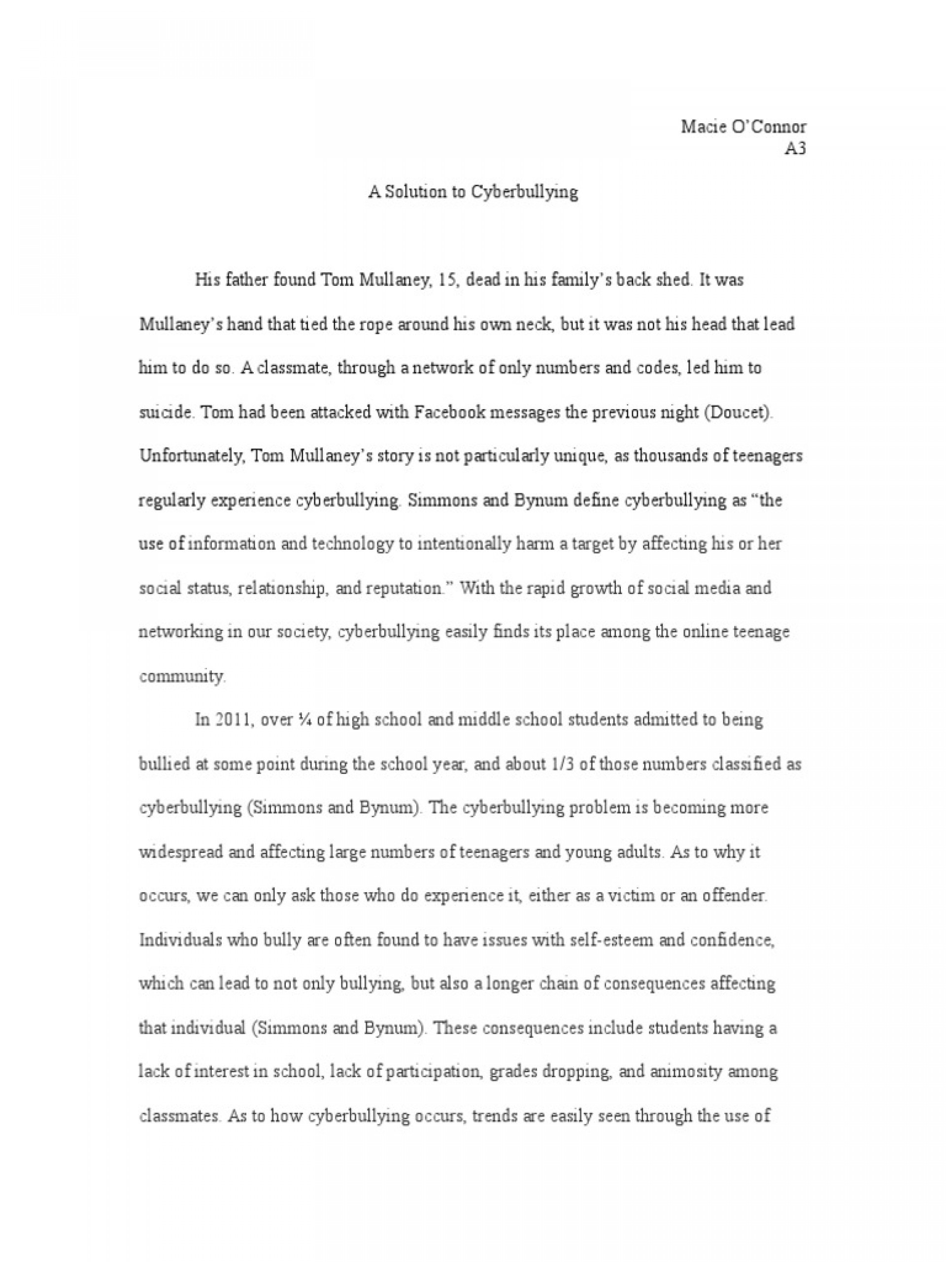 008 Essay Example Bullying Problem Solution Cyberbullying Communication How To Stop In Schools High School Avoid At Deal With Ways Prevent Awful Cyber Outline Creative Titles Anti 1920