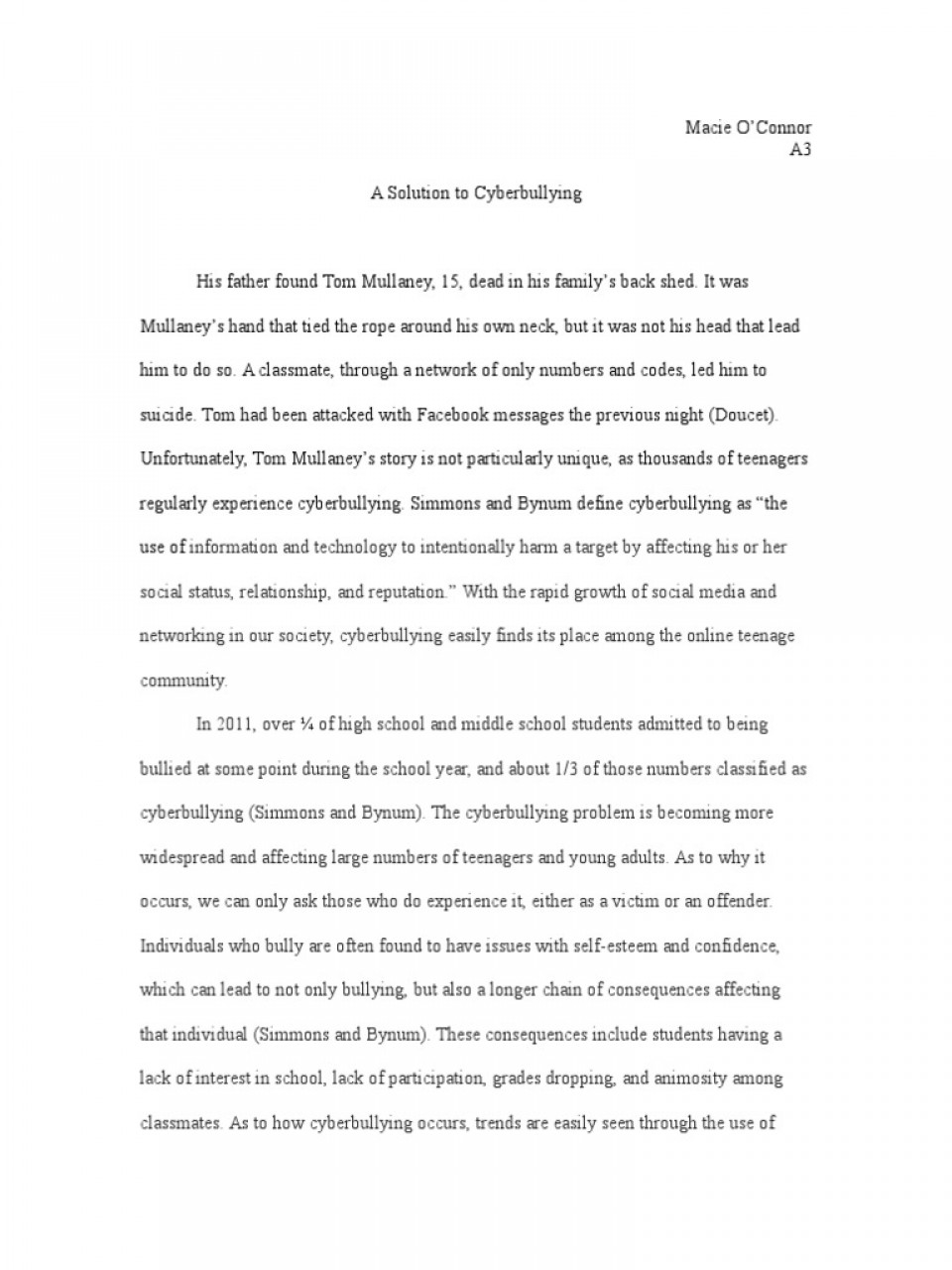 008 Essay Example Bullying Problem Solution Cyberbullying Communication How To Stop In Schools High School Avoid At Deal With Ways Prevent Awful Topics Cyber Titles Persuasive Ideas 960