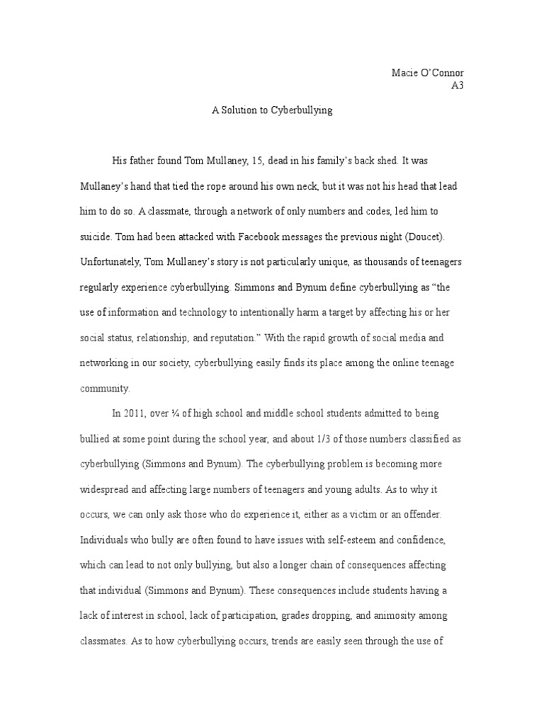 008 Essay Example Bullying Problem Solution Cyberbullying Communication How To Stop In Schools High School Avoid At Deal With Ways Prevent Awful Topics Cyber Titles Persuasive Ideas Full